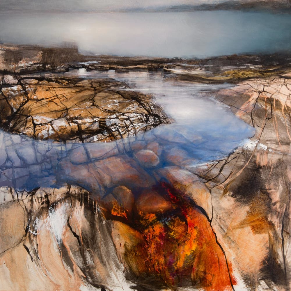 Beth Robertson Fiddes  Across Garvie Bay, 2019  mixed media  98cm x 122cm  38 1/2 x 48 in