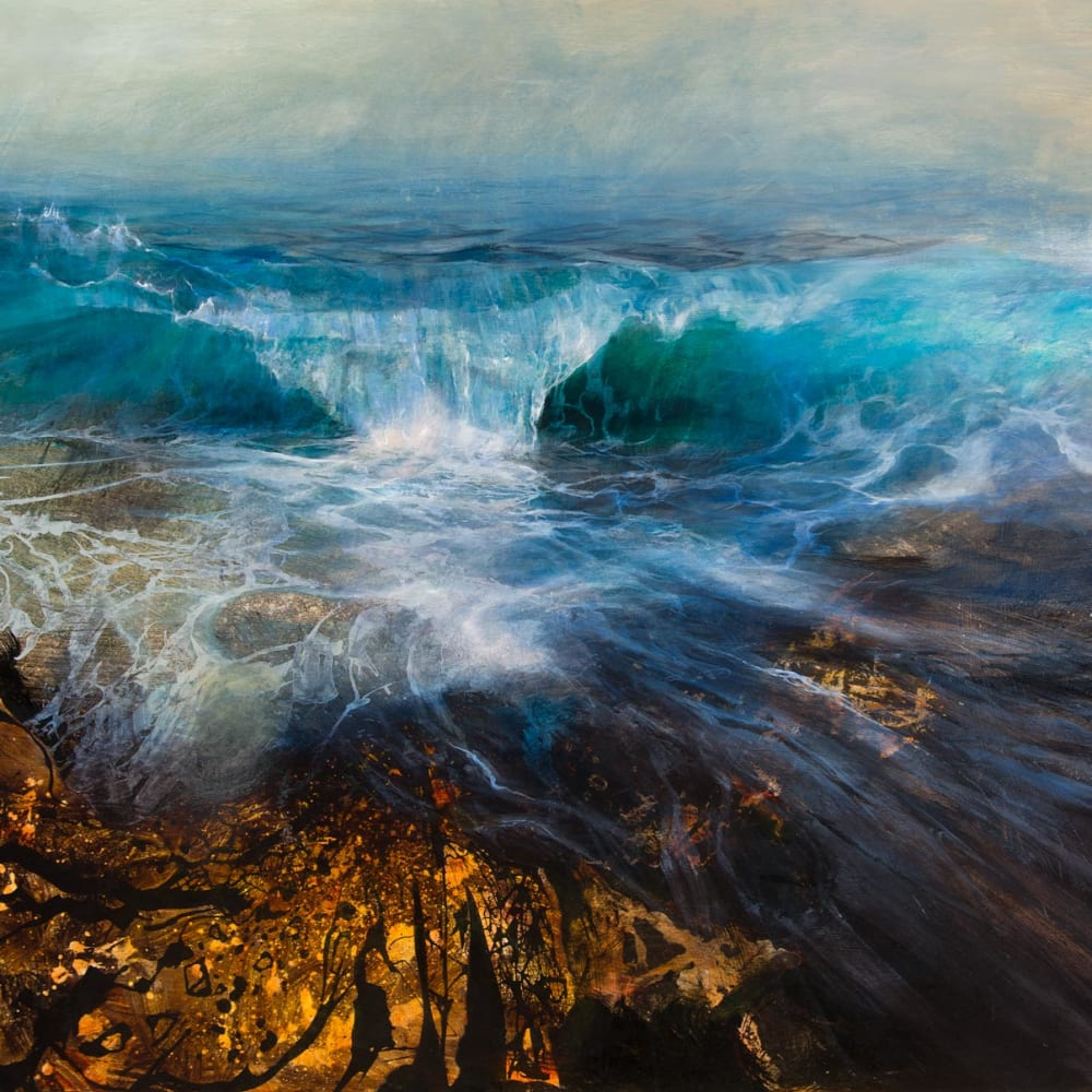 Beth Robertson Fiddes  Big Wave over Rocks, 2019  mixed media  122cm x 152cm  48 x 60 in