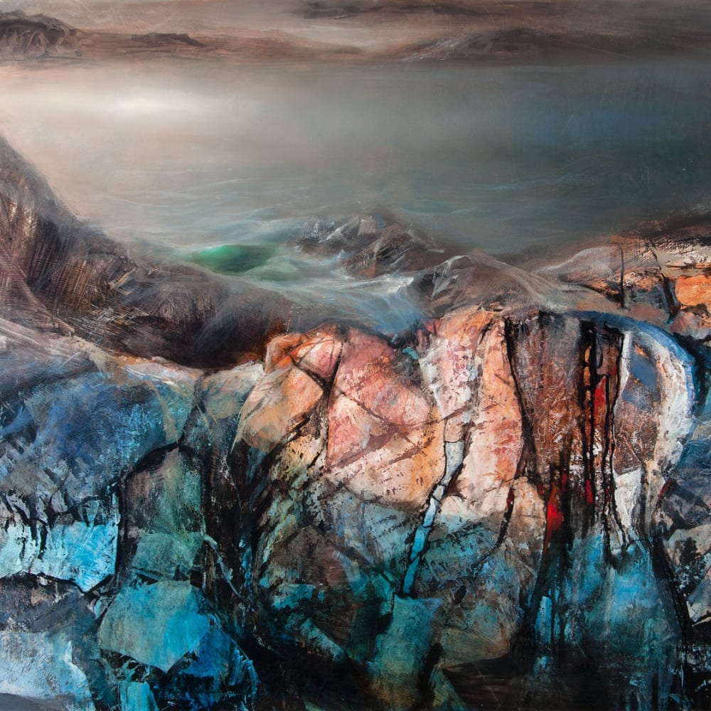 Beth Robertson Fiddes  Over the Rocks Clashnessie  mixed media  92cm x 122cm