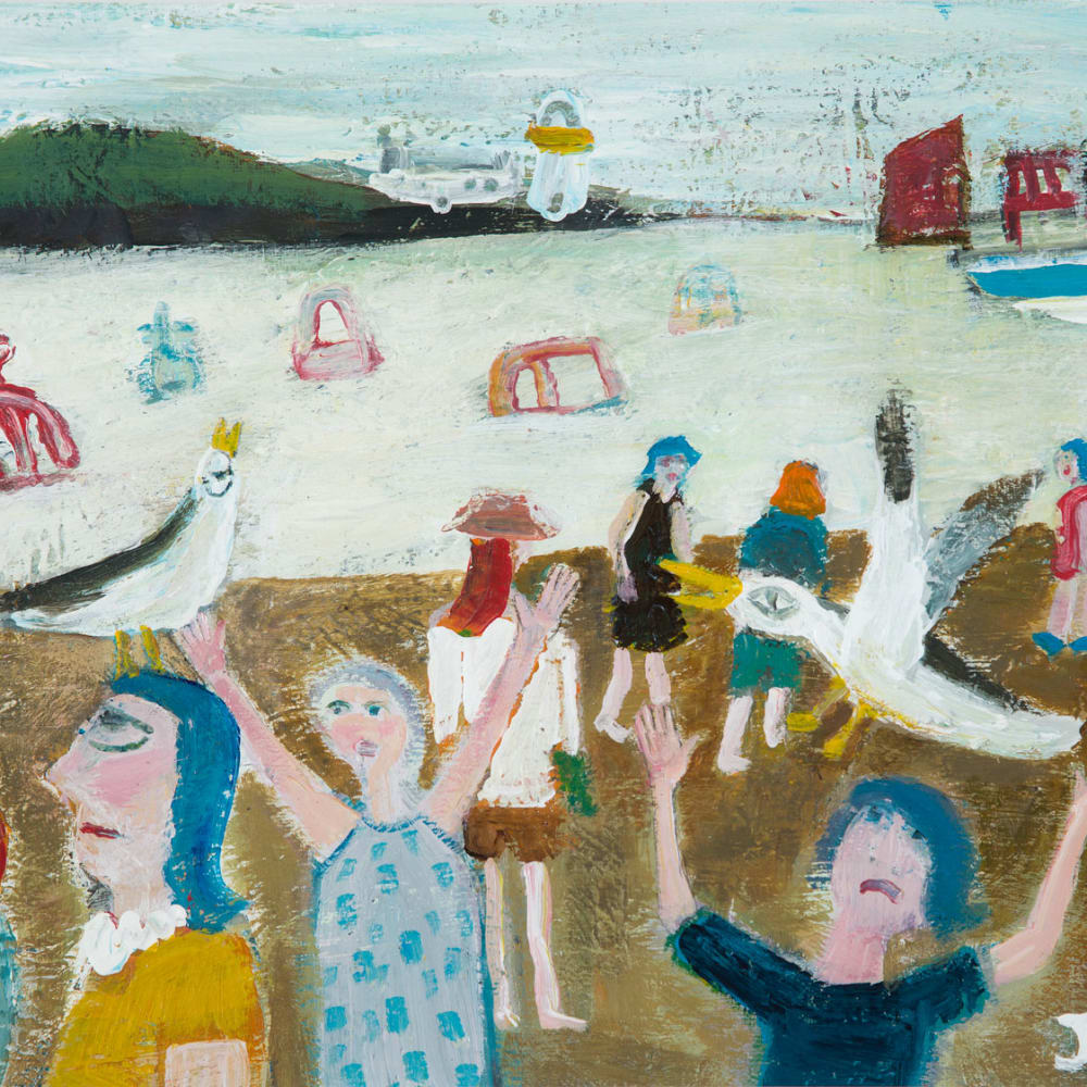 James Newton Adams  Mobbed at the Beach  acrylic on card  30.5cm x 40.5cm