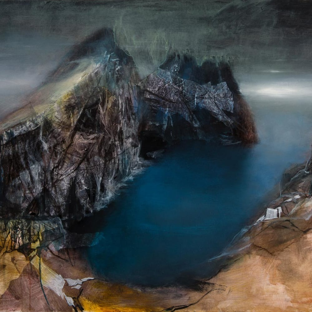 Beth Robertson Fiddes  Dun from Hirta, 2019  mixed media  81cm x 122cm  32 x 48 in