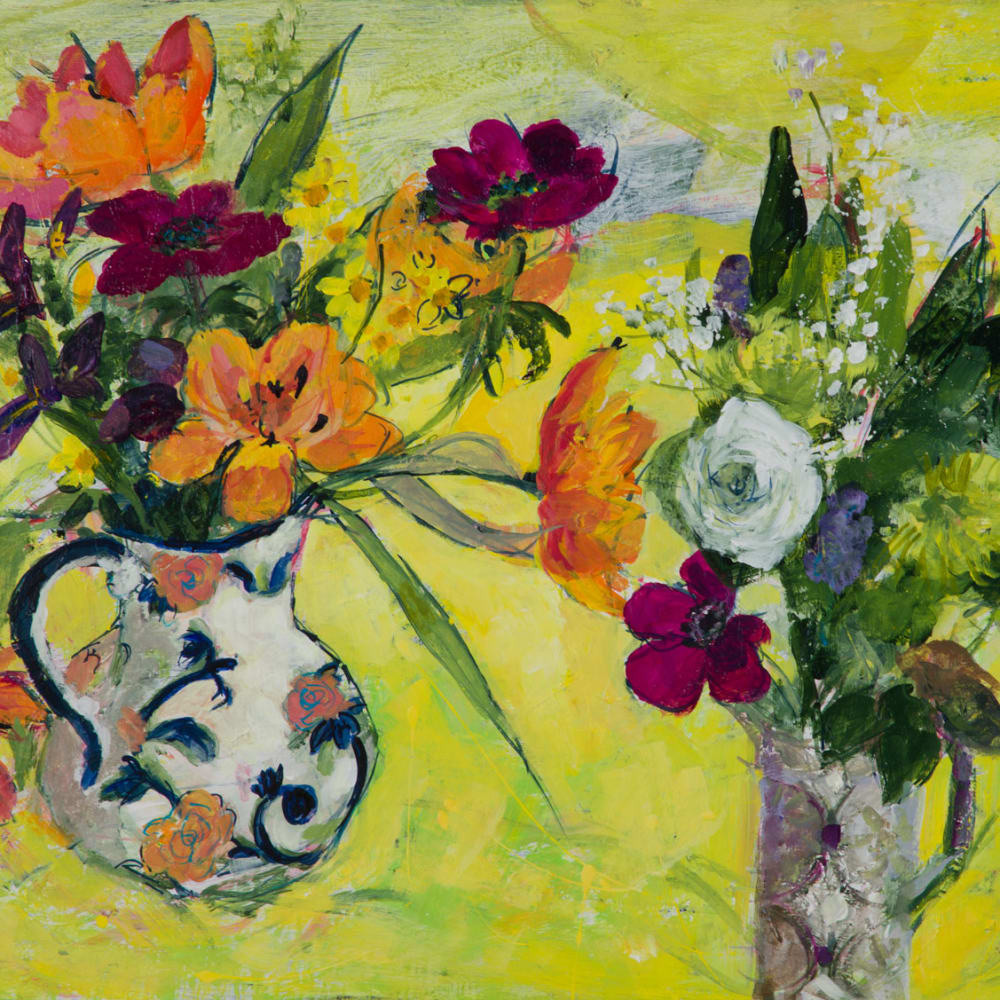 Ann Oram  Two Vases of Spring Flowers on Yellow  oil on board  46cm x 61cm