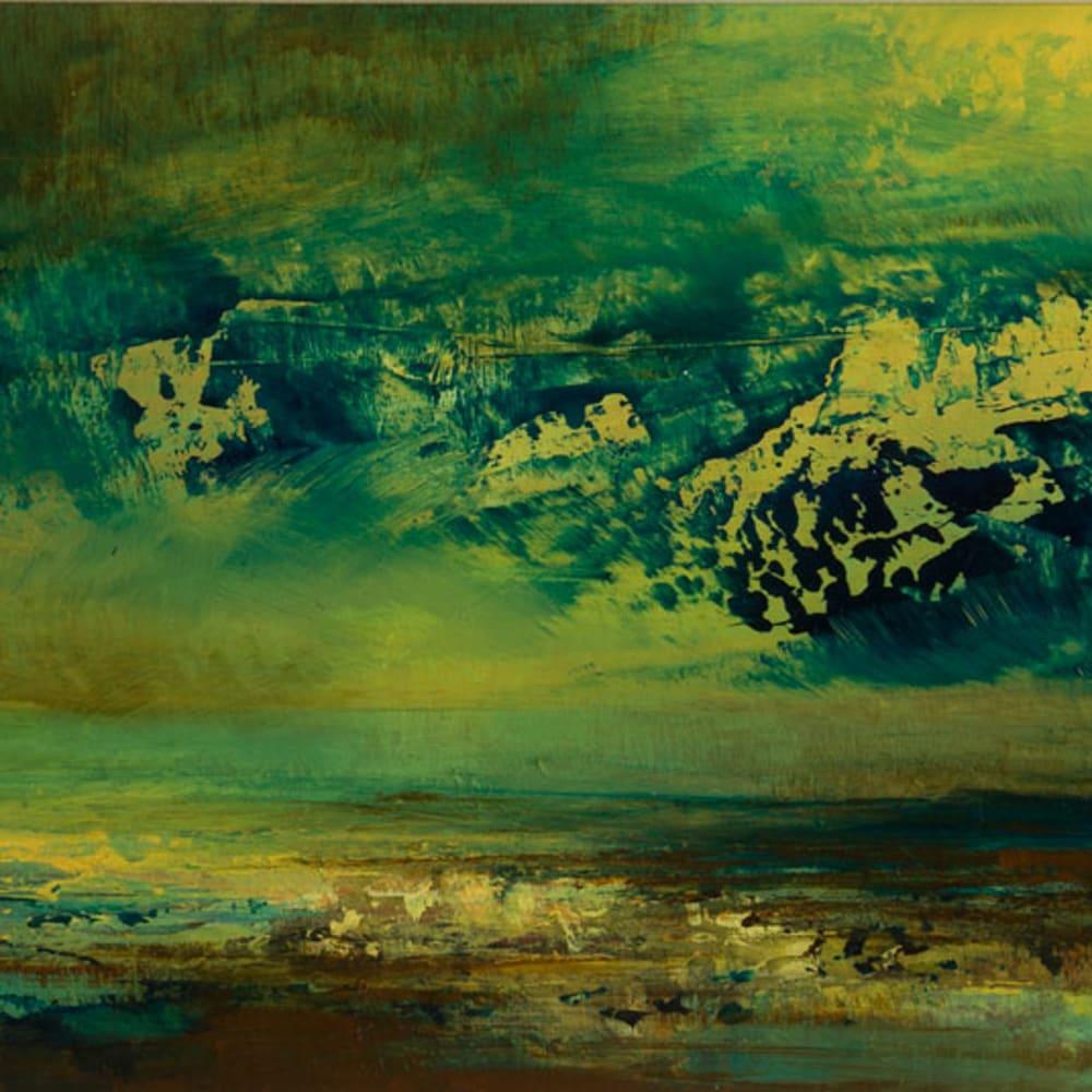 Kirstie Cohen  Green Cloud  oil on board  14cm x 38cm
