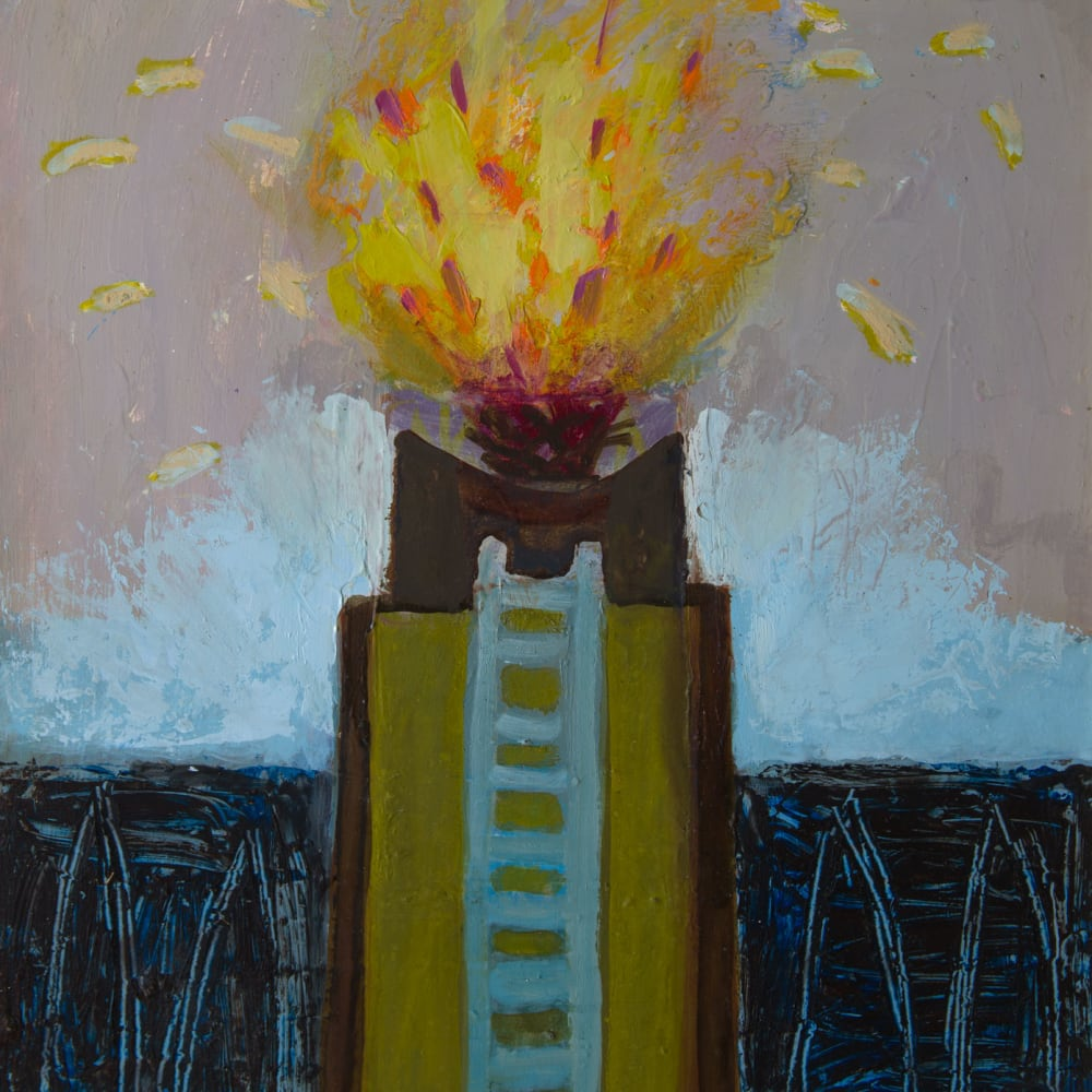 Ann Wegmuller RSW  The Beacon, 2019  oil  26cm x 23cm
