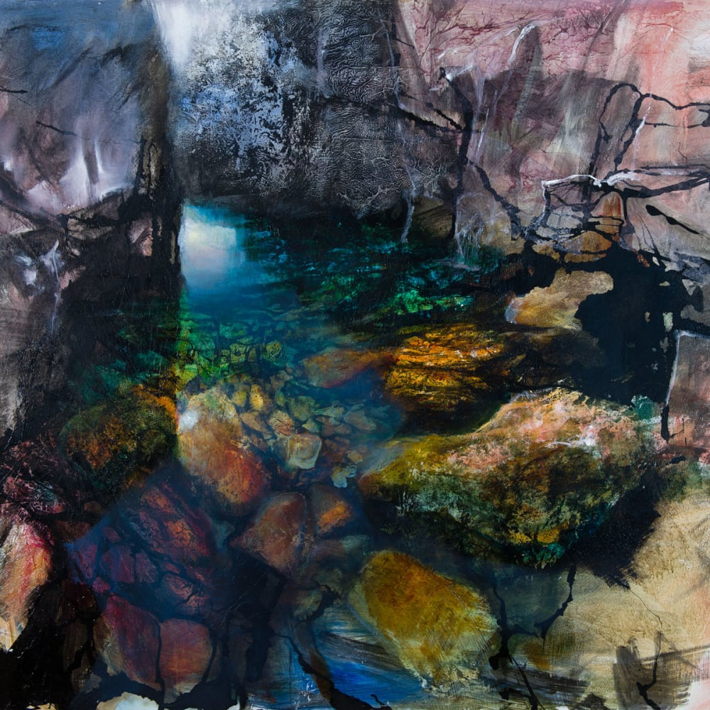 Beth Robertson Fiddes  Icelandic Pool  mixed media  98cm x 122cm