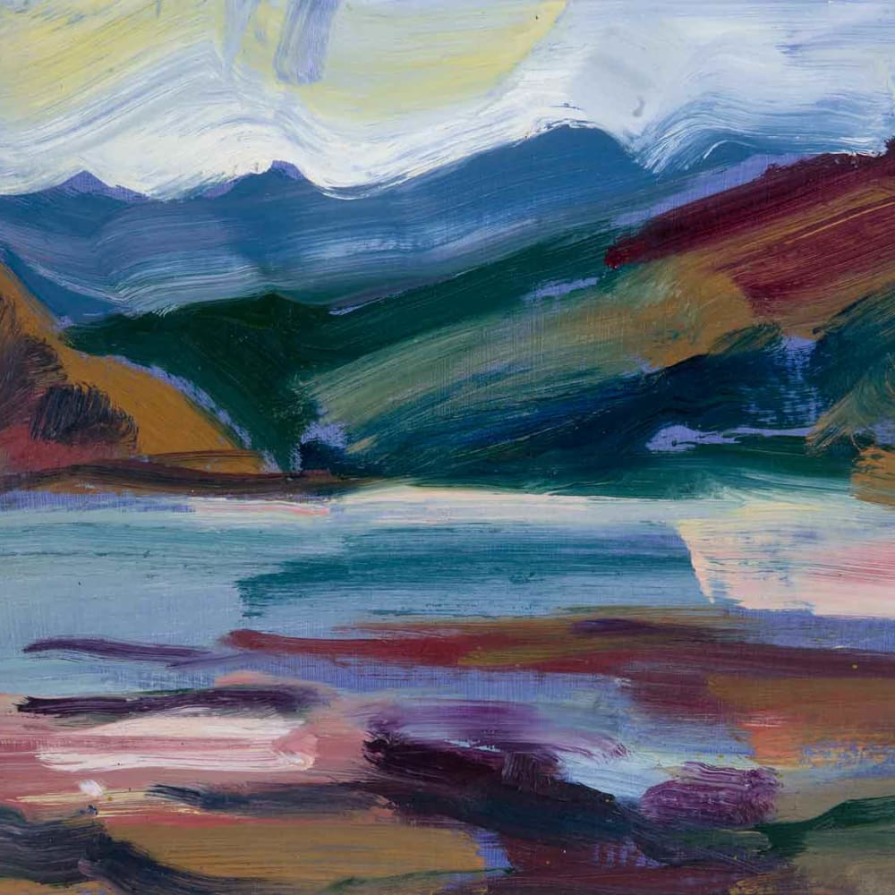 Shona Barr  Loch Long (study)  oil on card  26.7 x 34.3 cm  10 1/2 x 13 1/2 in