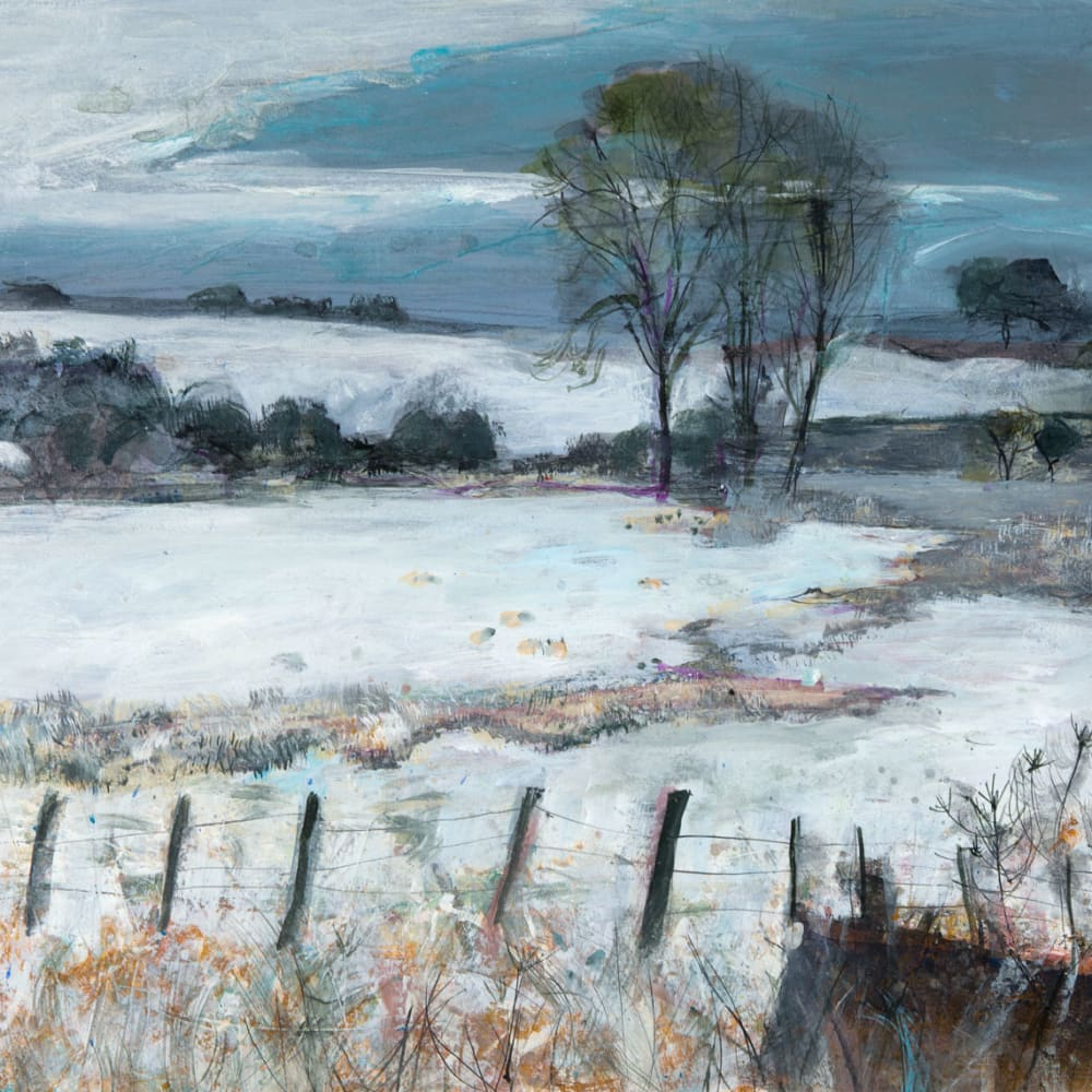 Ann Oram  Fields outside Greenlaw, Borders  mixed media on paper  51cm x 67cm