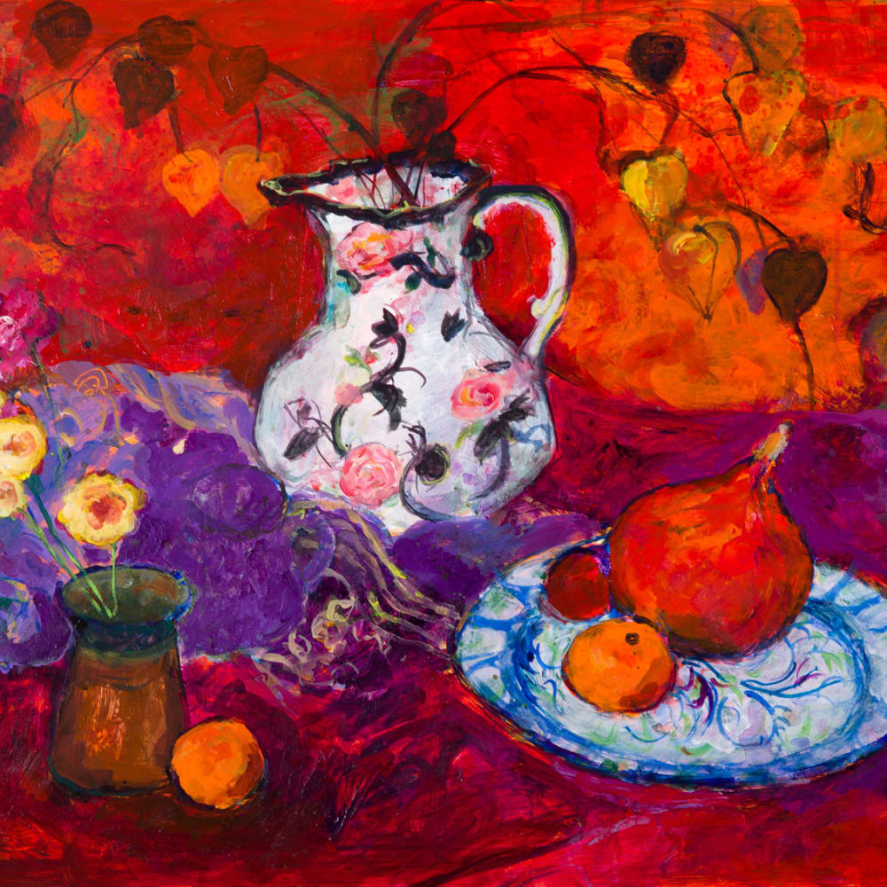 Ann Oram  Red Still-life with Chinese Lanterns  mixed media on board  46cm x 61cm