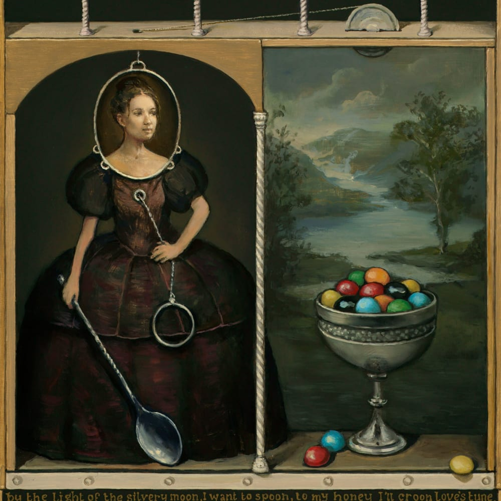 Alan Macdonald  The Fully Automated Madame Le Bonbon  oil on board  43cm x 40cm  17 x 16 in