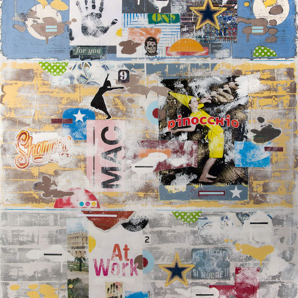 Colin Brown  Pinocchio  mixed media  120cm x 100cm