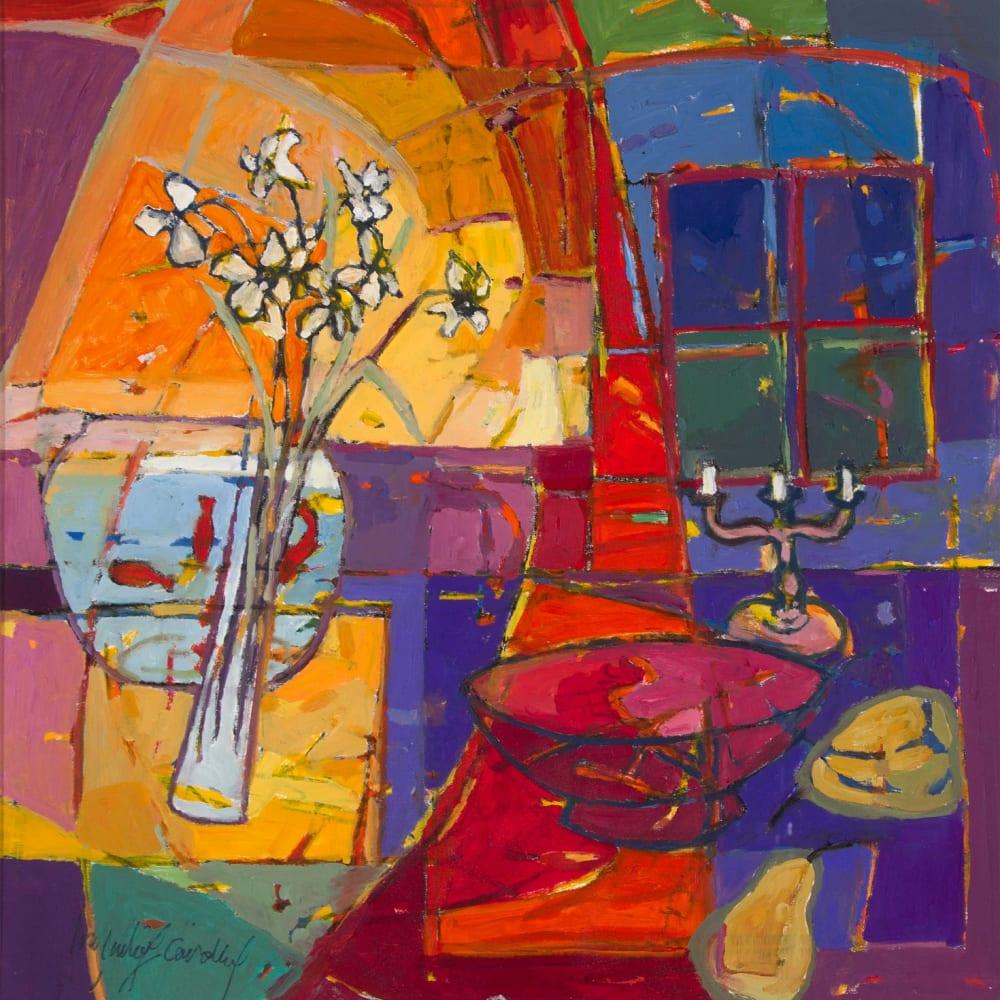 Catherine Imhof-Cardinal  Festive Window, 2017  oil on board  56cm x 55cm