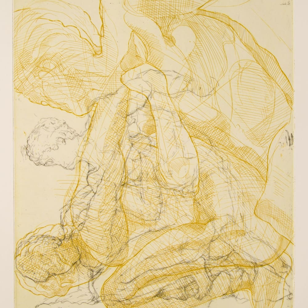 Ian Westacott and Raymond Arnold  Wrestlers, Louvre, 2005  etching  50cm x 40cm  5 of 20