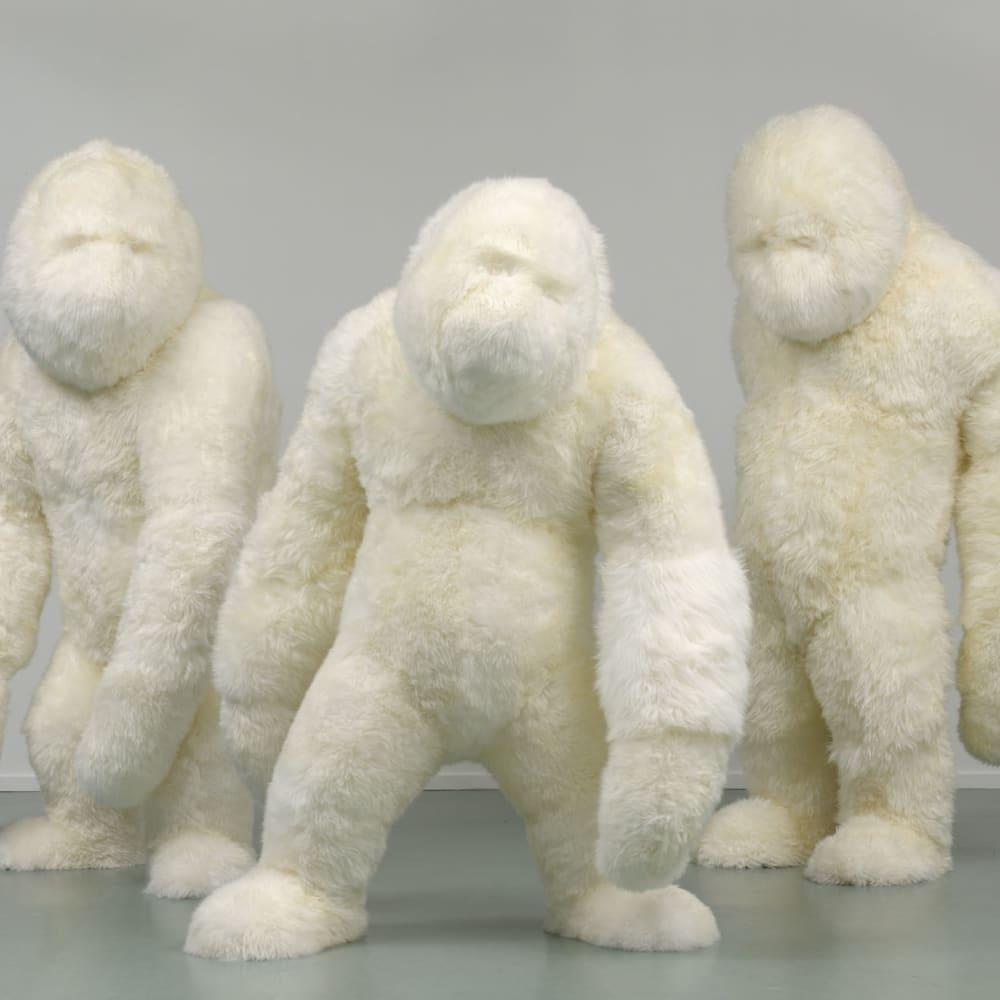 Marjolijn Mandersloot  The Three Hunks, 2010  Sheepskin  200, 225 and 200 cm  € 15.000 per work