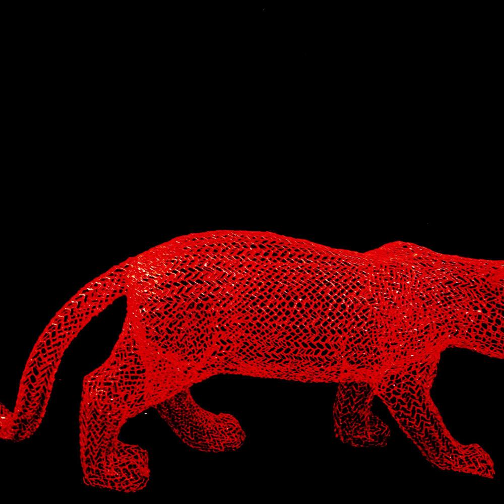 Eka Acosta  Red Jungle Cat  Mesh wire  40 x 110 x 24 cm