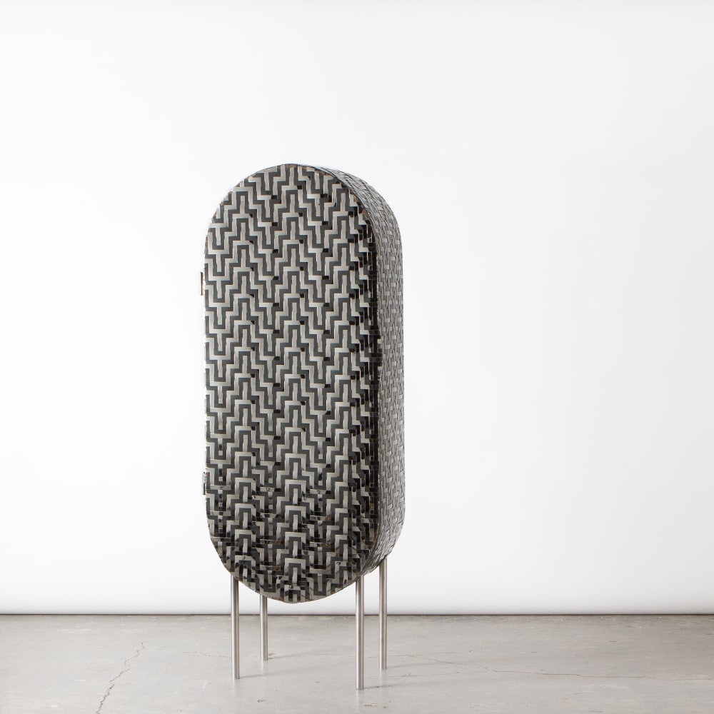 Michael Gittings  Standing Cabinet, 2019  Stainless Steel, Glass  180 x 63 x 35 cm  Edition of 3 + 1 AP  AP Sold- Private Collection, Victoria