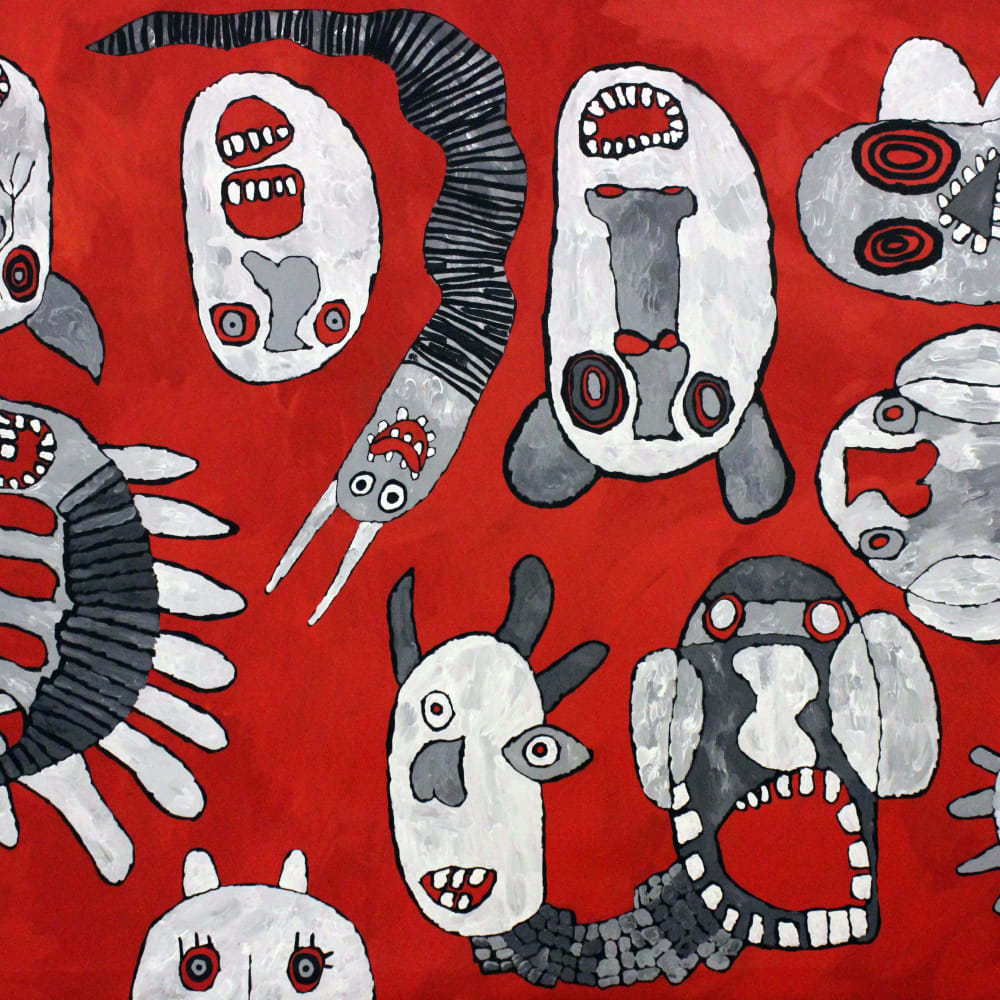 Tiger Yaltangki  Mamutjara (Ghost Story)  acrylic on canvas  167 x 240 cm