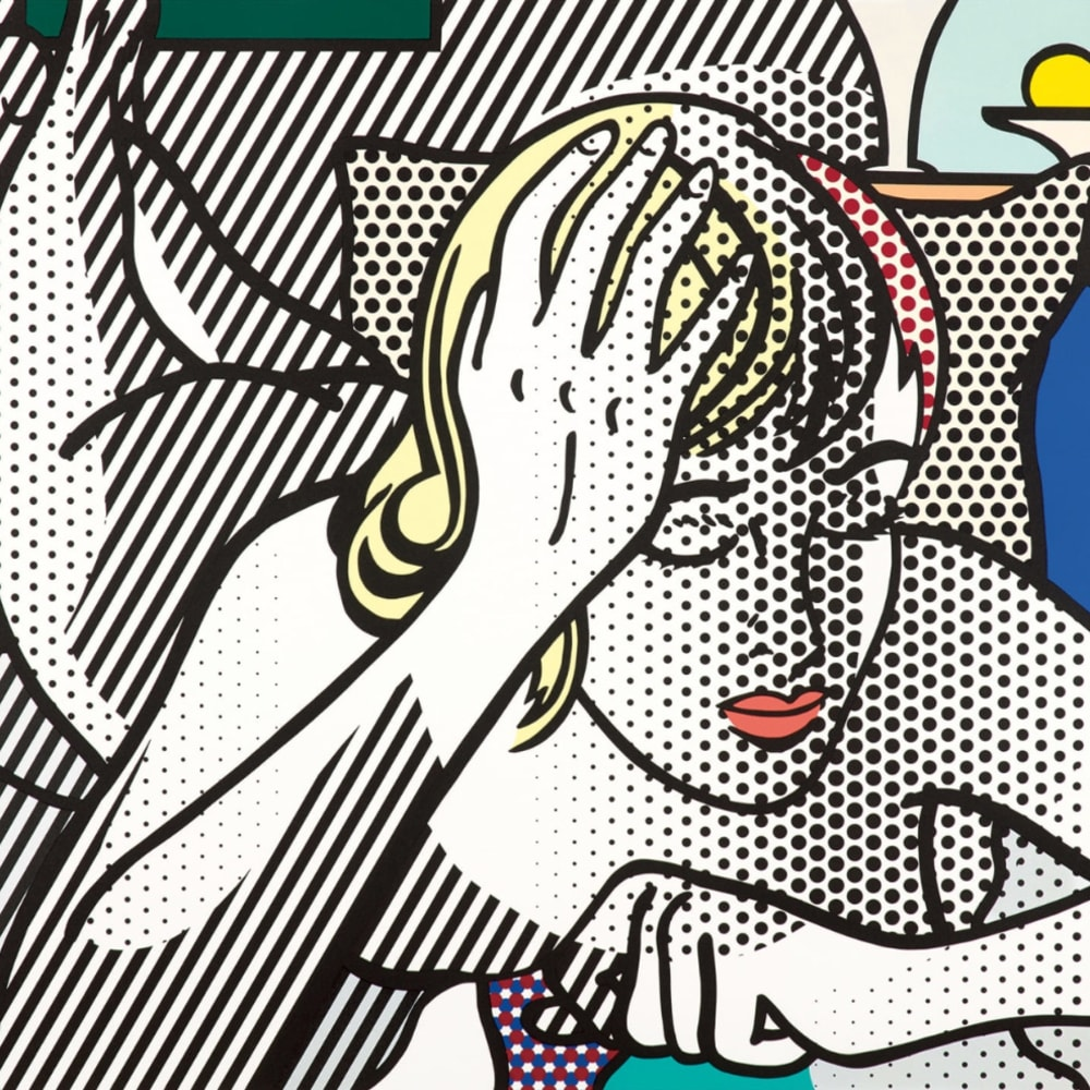 Roy Lichtenstein  Thinking Nude, from Nude Series, 1994  Color relief print on Rives BFK paper, with full margins  89.5 x 142 cm 35 1/8 x 55 7/8 ins  Edition 8 of 40 + 12 AP  Signed, dated and numbered in pencil on lower margin