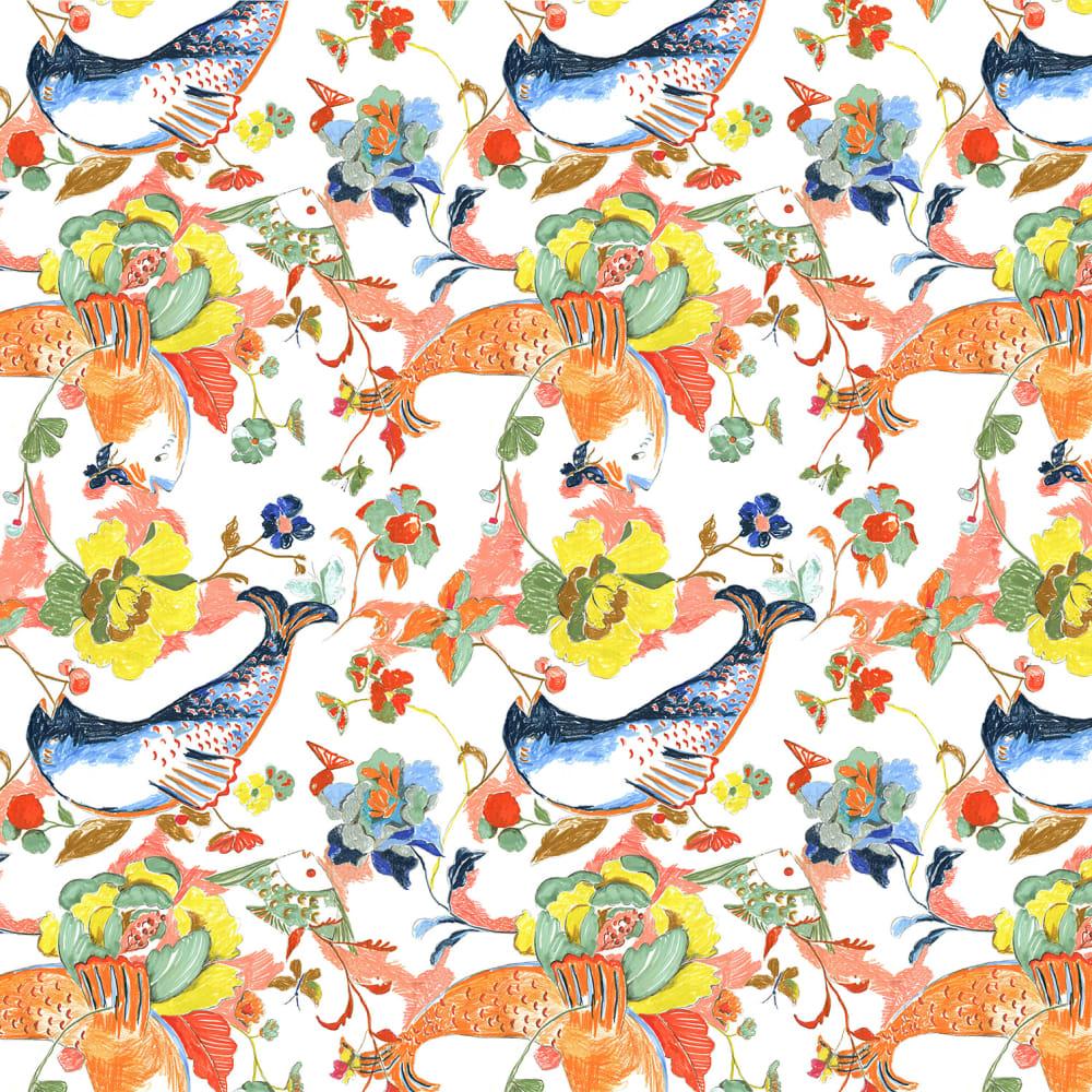 Ravenna Osgood  Betty-O Fish & Floral Wallpaper, 2018  Wallpaper print of a mixed-media drawing  72.8 x 120 in.