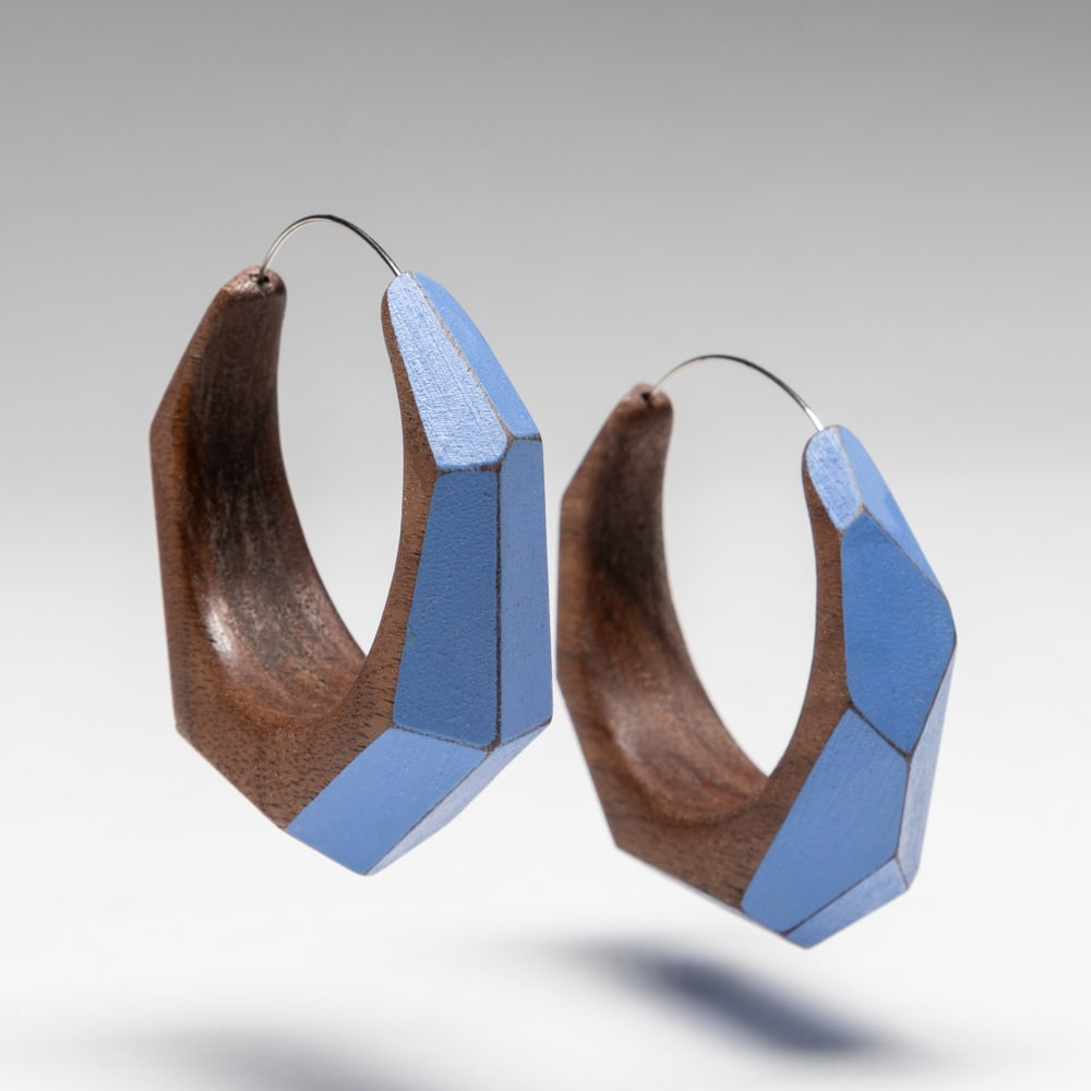 Faceted Hoops (blue)