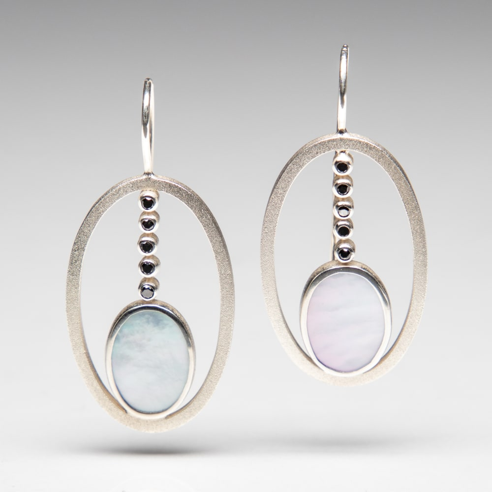 Mother of Pearl and Black Diamond EarringsMother of Pearl and Black Diamond Earrings