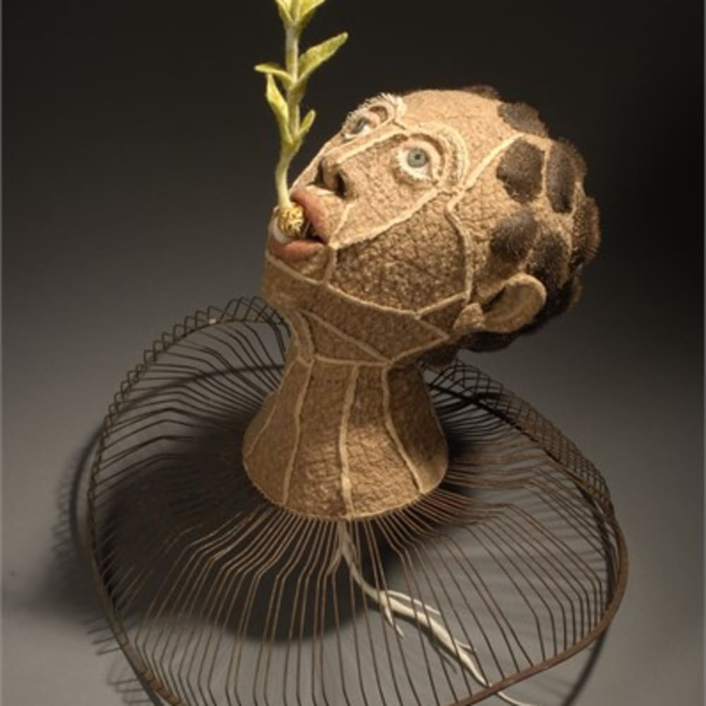 Lisa Klakulak  Transplant, 2006  wool fiber, silk fabric, waxed linen, cotton fill, repurposed peach stone, seed pods & fan cage; wet felted, naturally dyed (walnut hulls), Hand stitched  19 x 20 x 15 in,