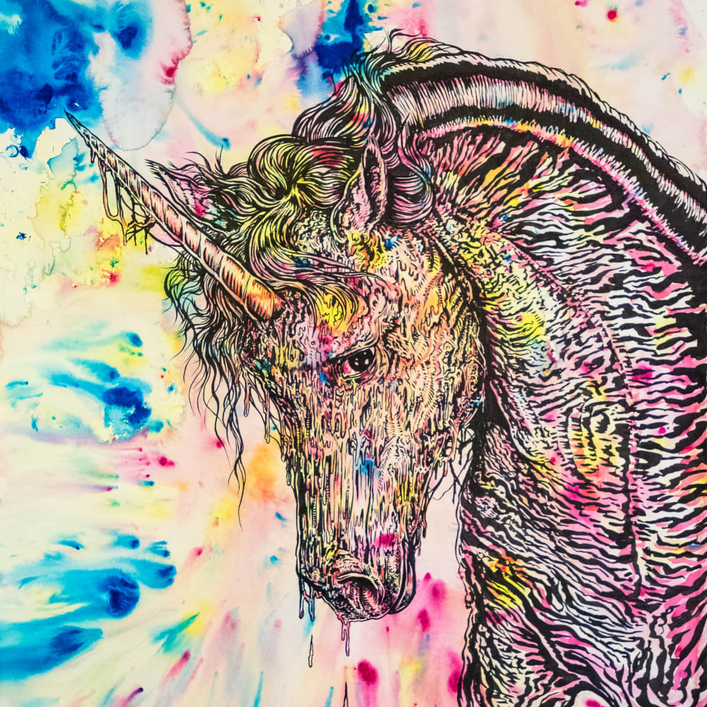 Todd Ryan White  Dispirit Animal (Melting Unicorn), 2019  ink and watercolor on paper  40 x 30 in.