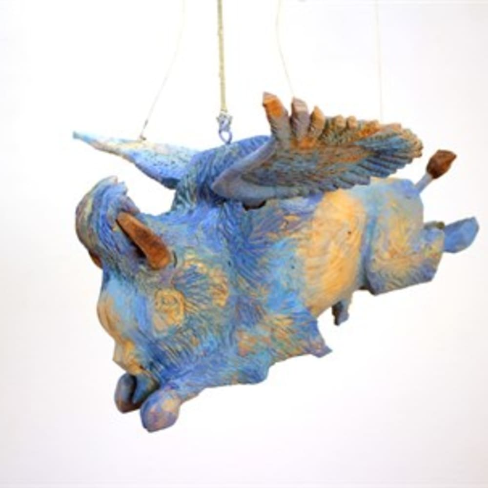 Armond Lara  Flying Blue Buffalo 2 Juanita Sanchez  pine wood carving, mixed media  8 x 20 x 13 in.