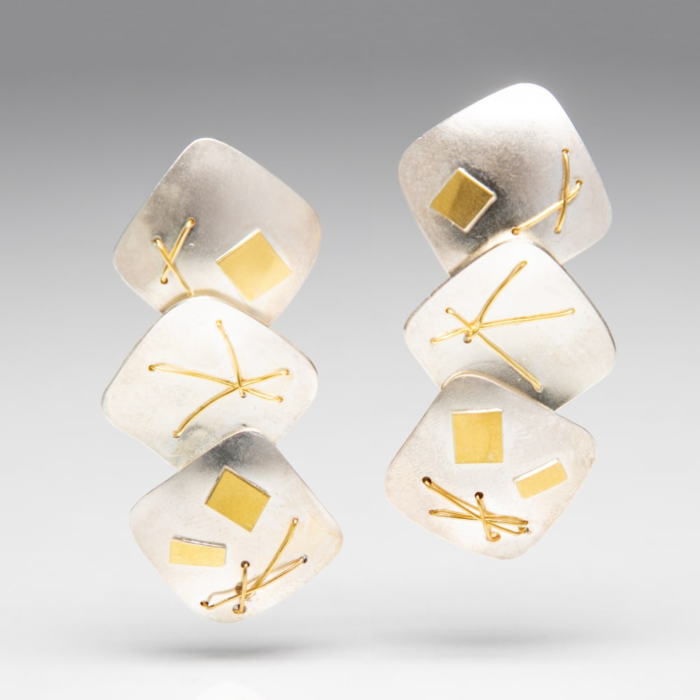 Suzanne Schwartz, Interwoven 3 Piece Earrings, 2019