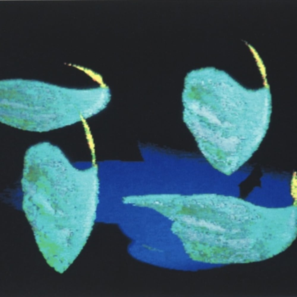 Shelagh Cluett  Blue Flames, 1991  screen print, signed and numbered 96/100, From the Chelsea Arts Club Centenary Portfolio  45 cm x 61 cm