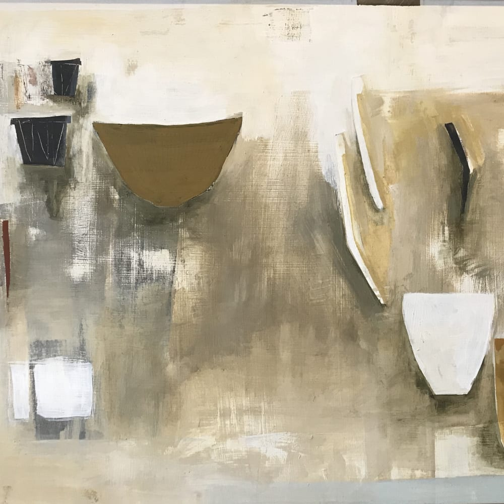 Ffiona Lewis  Still Life with Floating Brush, 1996  oil and pencil on relief board  44cm x 60cm