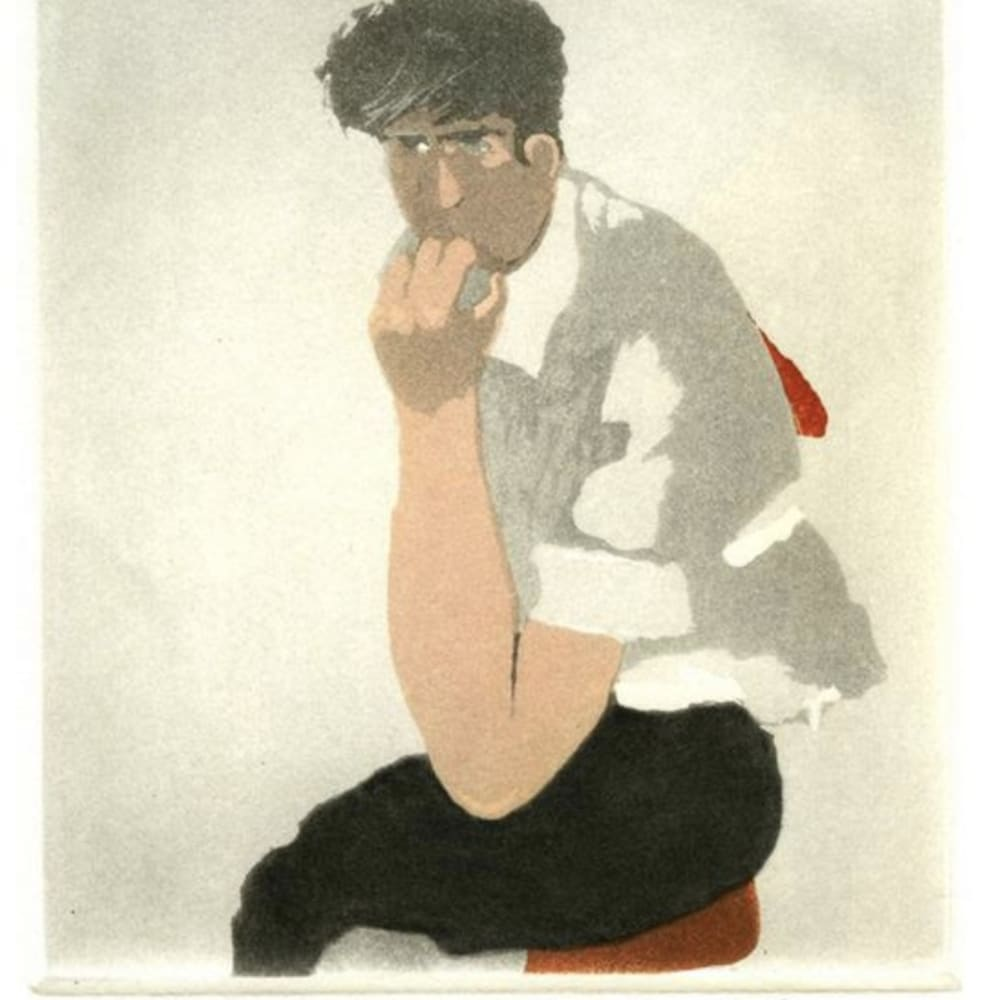 Patrick Procktor RA  The Thinker  Signed in pencil, 2 plate colour etching and aquatint. BAT (Bon a Tirer) edition of 75, printed by Charles Newington, Published by the Redfern Gallery, BAT  14cm x 12cm