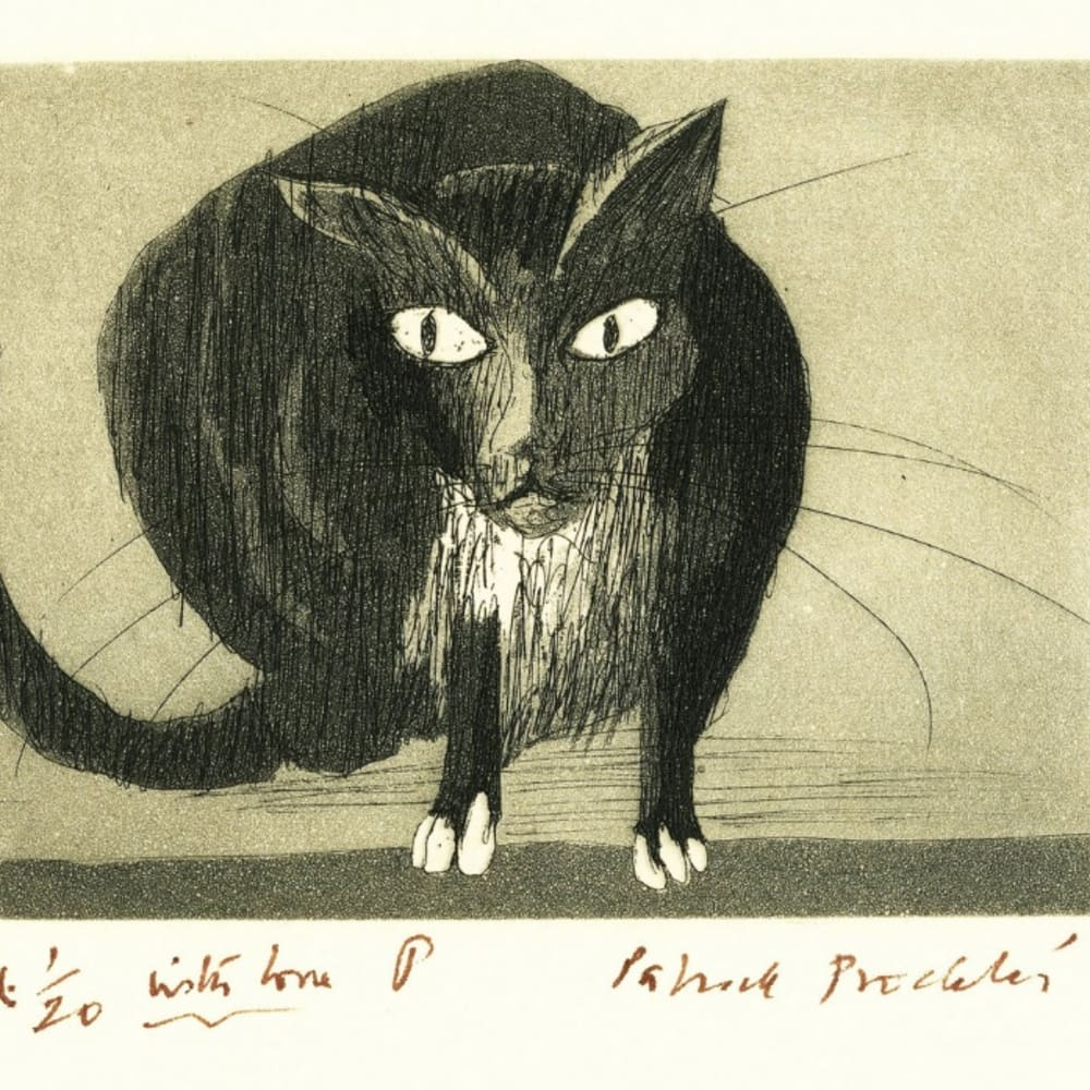 Patrick Procktor RA  The Fiercesome Cat  Signed in Ink, 2 plate colour etching and aquatint, Signed Ed. 1/20 with love from P and Patrick Procktor, Print 1/20  10cm x 14cm