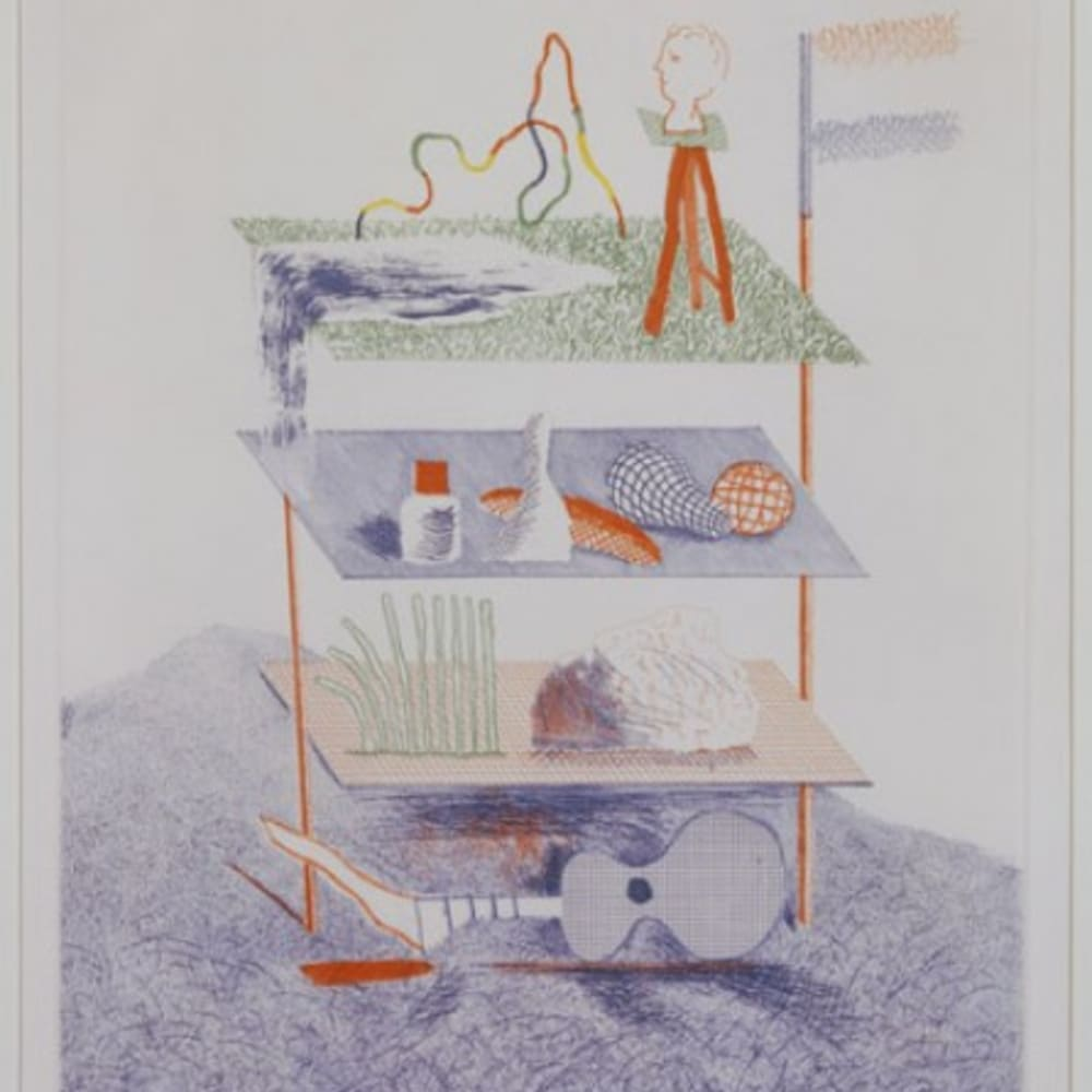 David Hockney RA  Serenade from The Blue Guitar, 1976-77  Etching with aquatint, print 64/200  42.5cm x 34.5cm