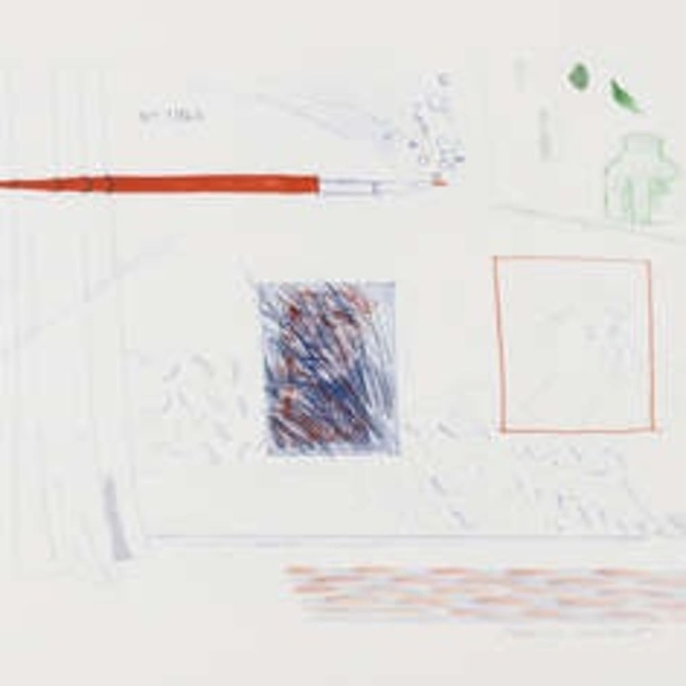 David Hockney RA  Etching is the Subject, 1976 -77  softground etching and aquatint in red, blue and green on wove paper  45.7cm x 52.4cm