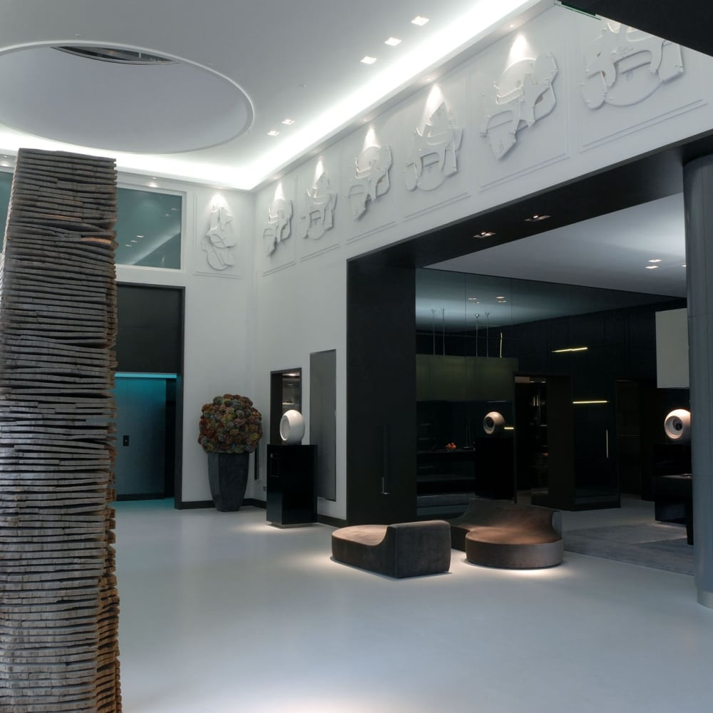Lobby view with David Nash, Crack and Warp Column, and Mathew Chambers, Eclipse series © the artist 2007