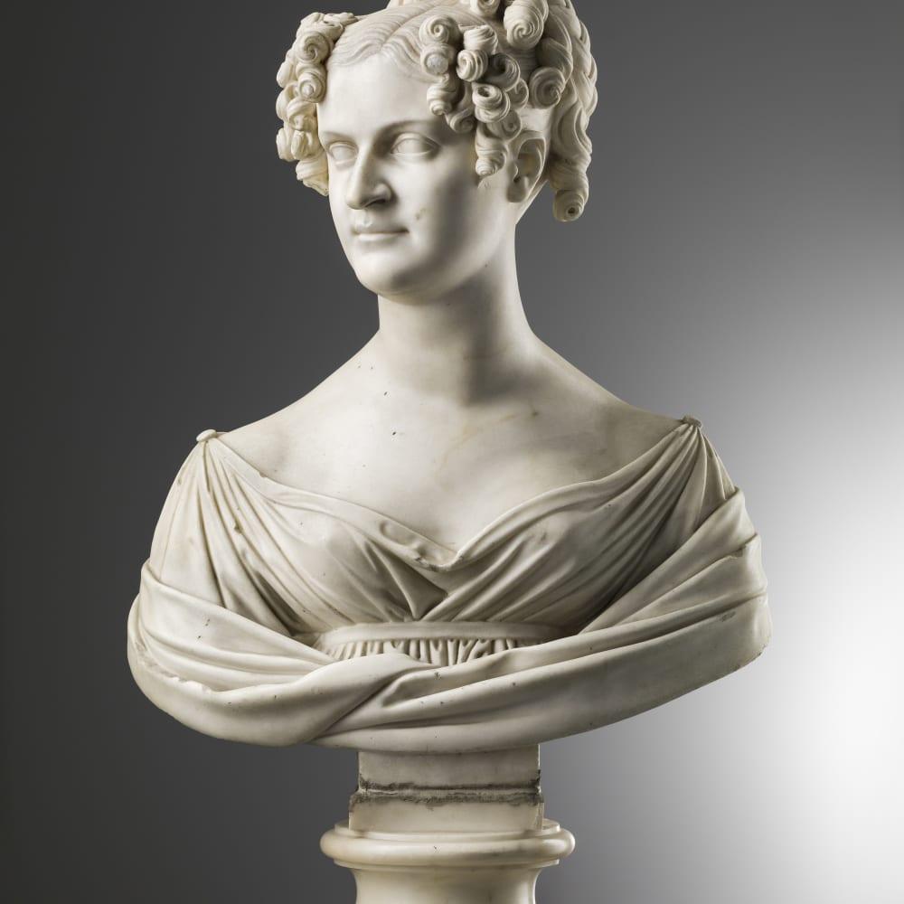 Lorenzo Bartolini (Savignano di Prato, 1777 - Florence, 1850) Bust of Rosalia Ventimiglia y Moncada, 1819 White Marble H. 61 cm