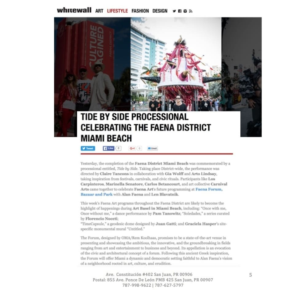 Tide By Side Processional Celebrating the Faena District Miami Beach