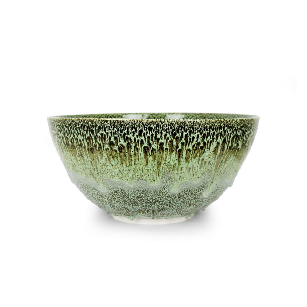 Albert Montserrat, Moss Agate Bowl, 2019, Oil Spot and Glazed Thrown Porcelain