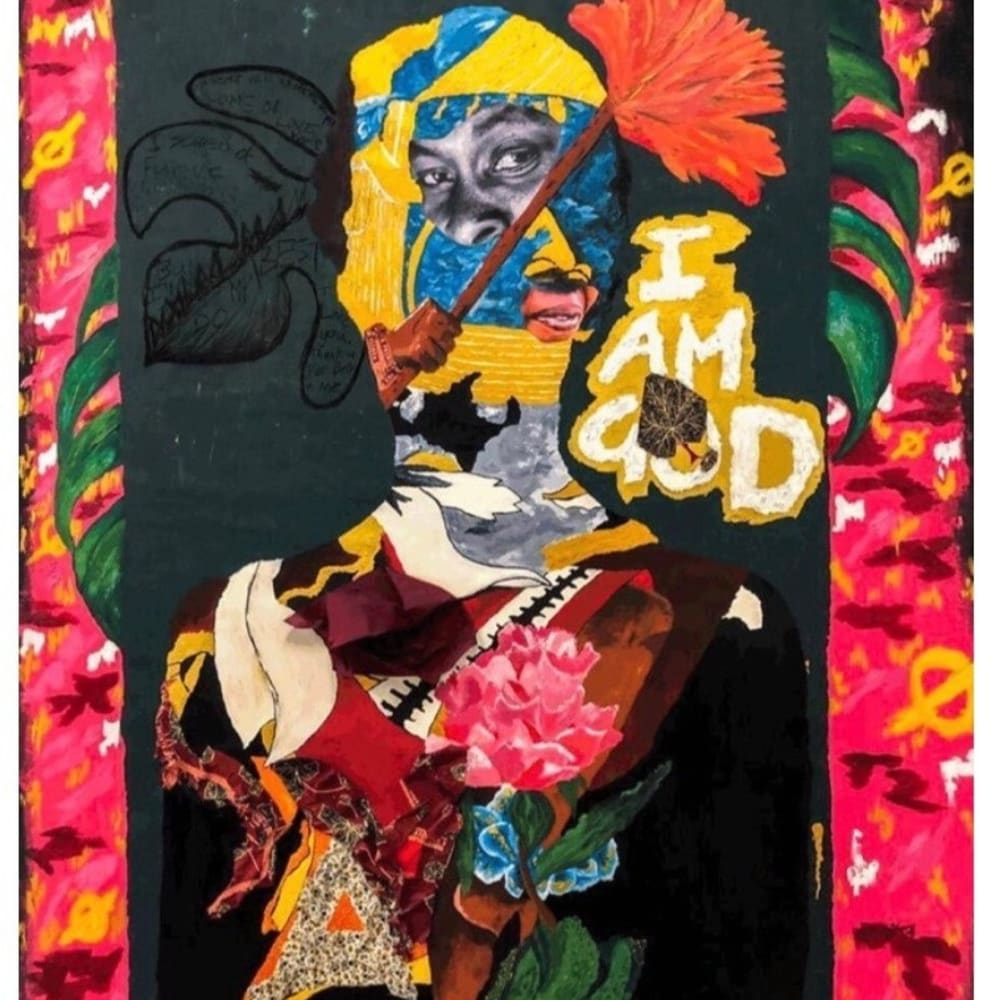 Giggs Kgole, God Ke Mama, 2019, Oil and Charcoal on Black Linen, Collage with Fabric