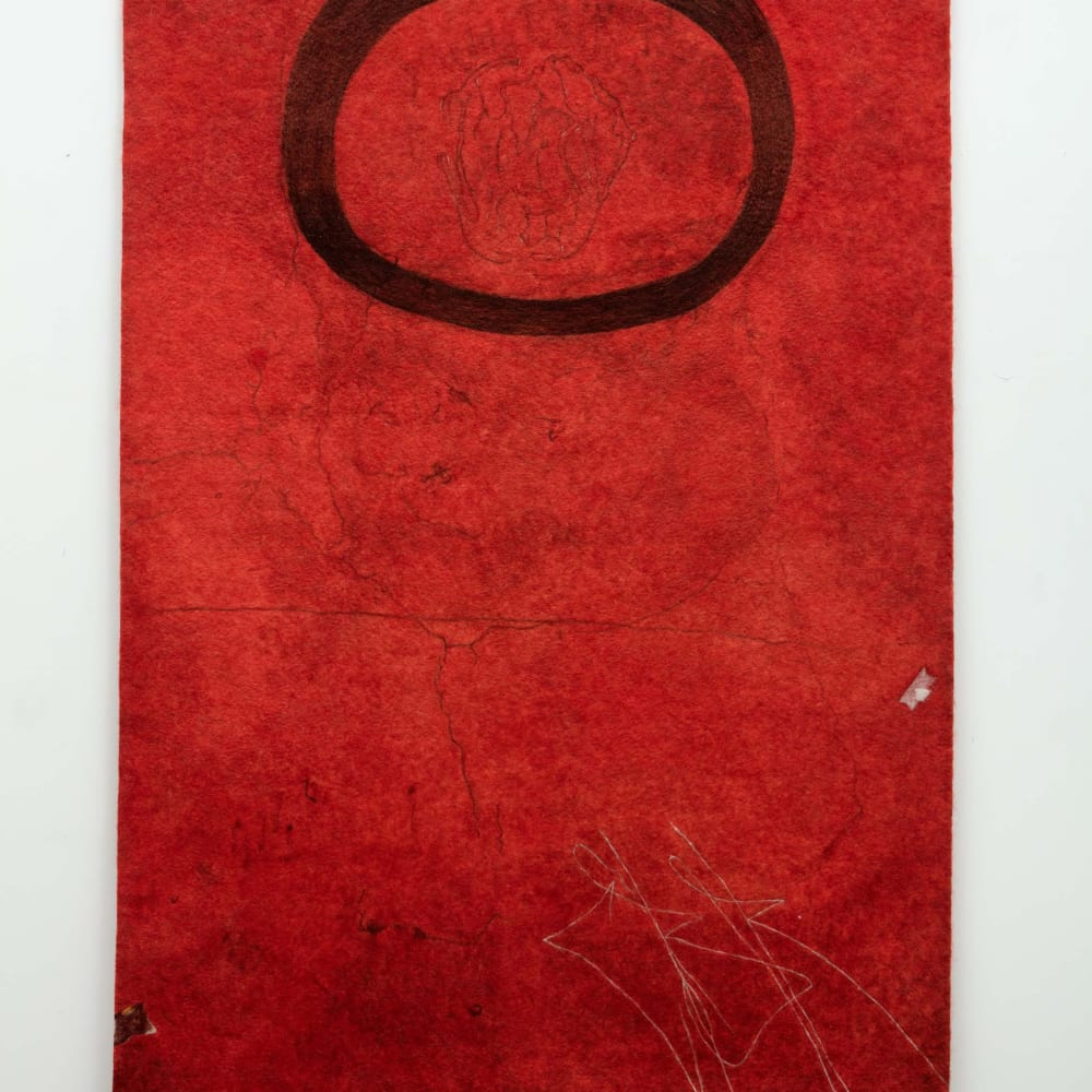 Gary Goldberg Finding the Universe in Oaxaca, Floating Oval on Red Ground