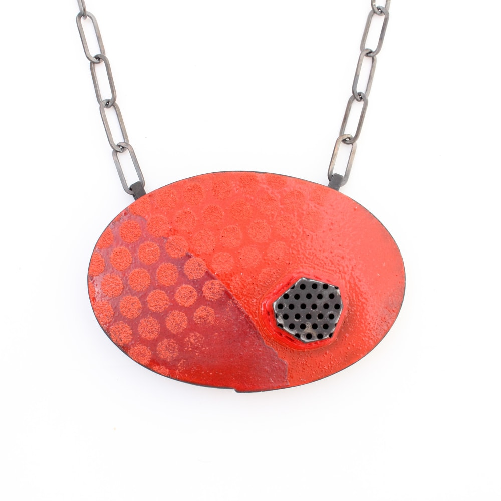 Kat Cole, Oval and Dots Pendant Steel, enamel, sterling silver