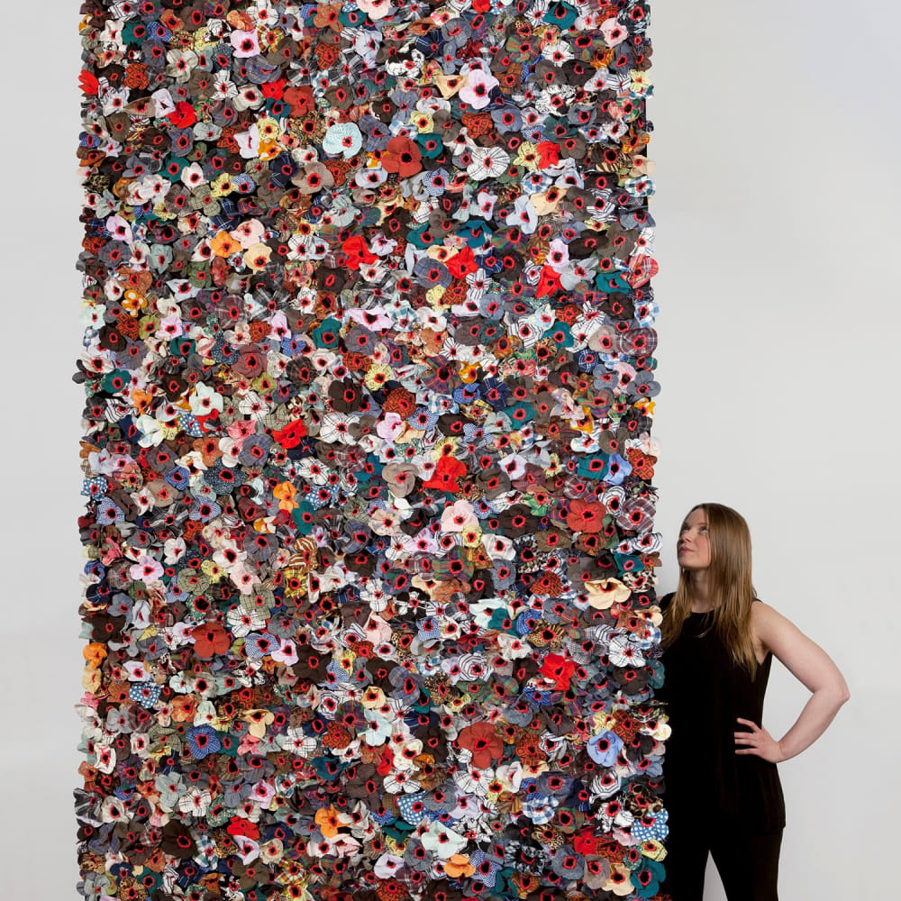 Jodi Colella, Once Was, 2019. Donated clothing, linen, cotton and wool thread, velvet, cotton canvas, rare earth magnets, 144 x 60 in. (Photo by Will Howcroft)