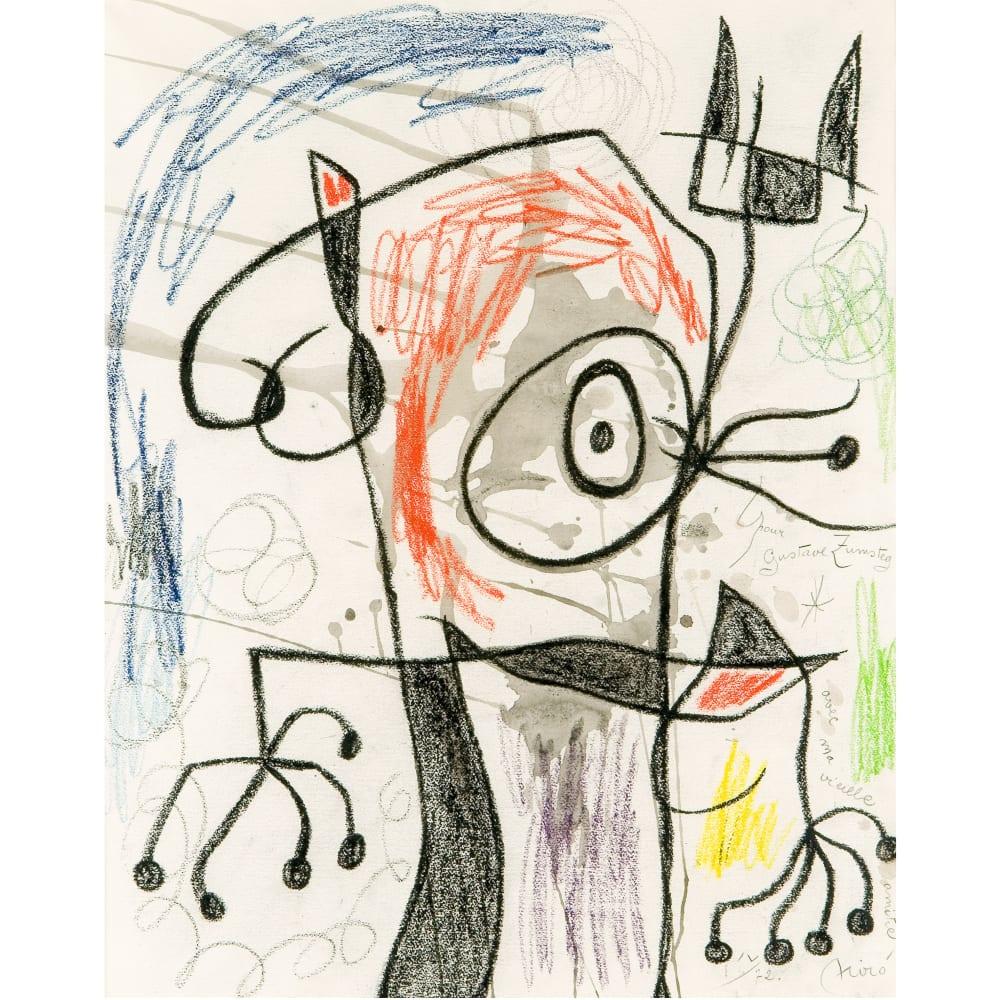 Joan Miró Personnage II, 1967-72 Watercolour and wax crayon on paper Aquarelle et crayon de cire sur papier 25 1/4 x 20 in 64 x 51 cm