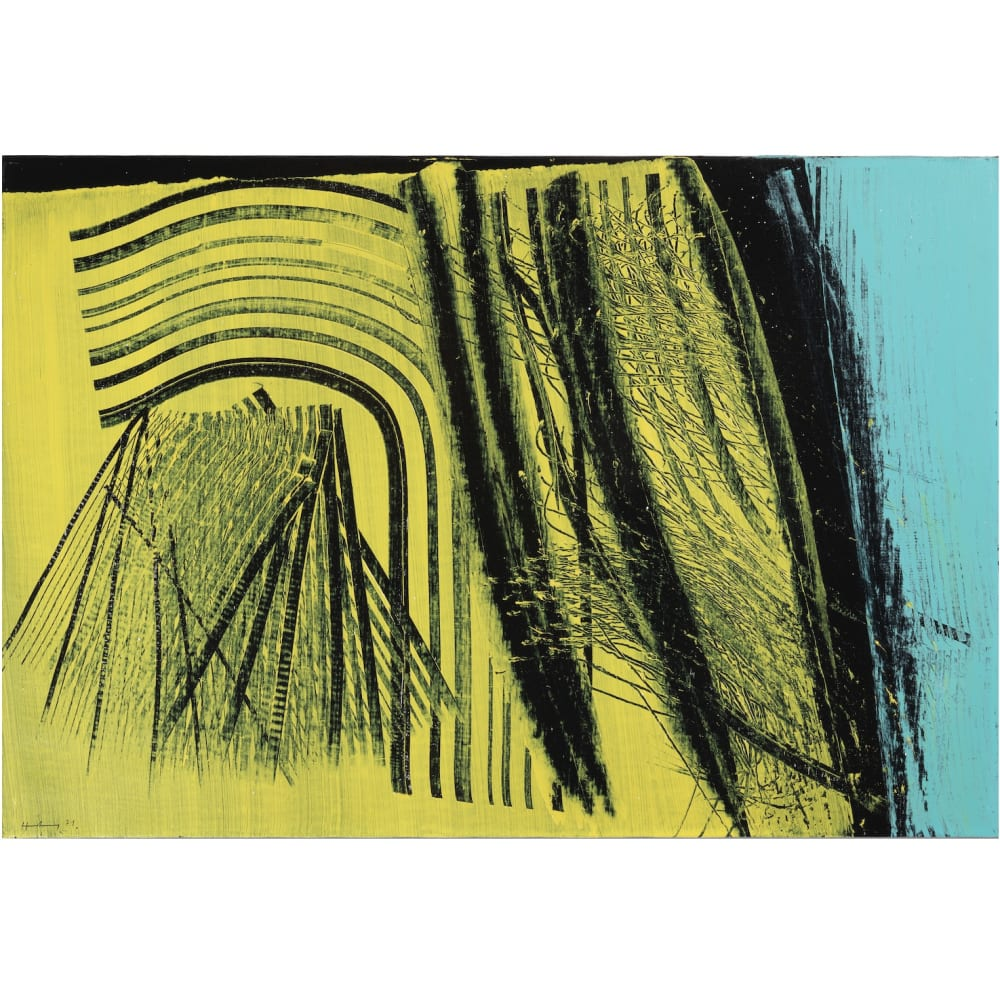 HANS HARTUNG T1971-E19, 1971 Acrylic on canvas Acrylique sur toile 19 3/4 x 28 3/4 in 50 x 73 cm