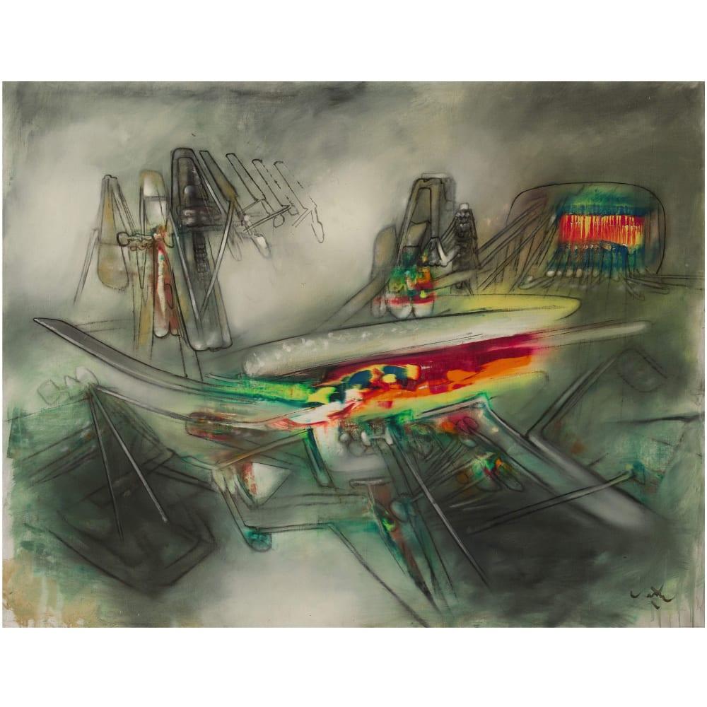 ROBERTO MATTA UNTITLED, 1957 Oil on canvas Huile sur toile 43 7/8 x 58 1/4 in 111.5 x 148 cm