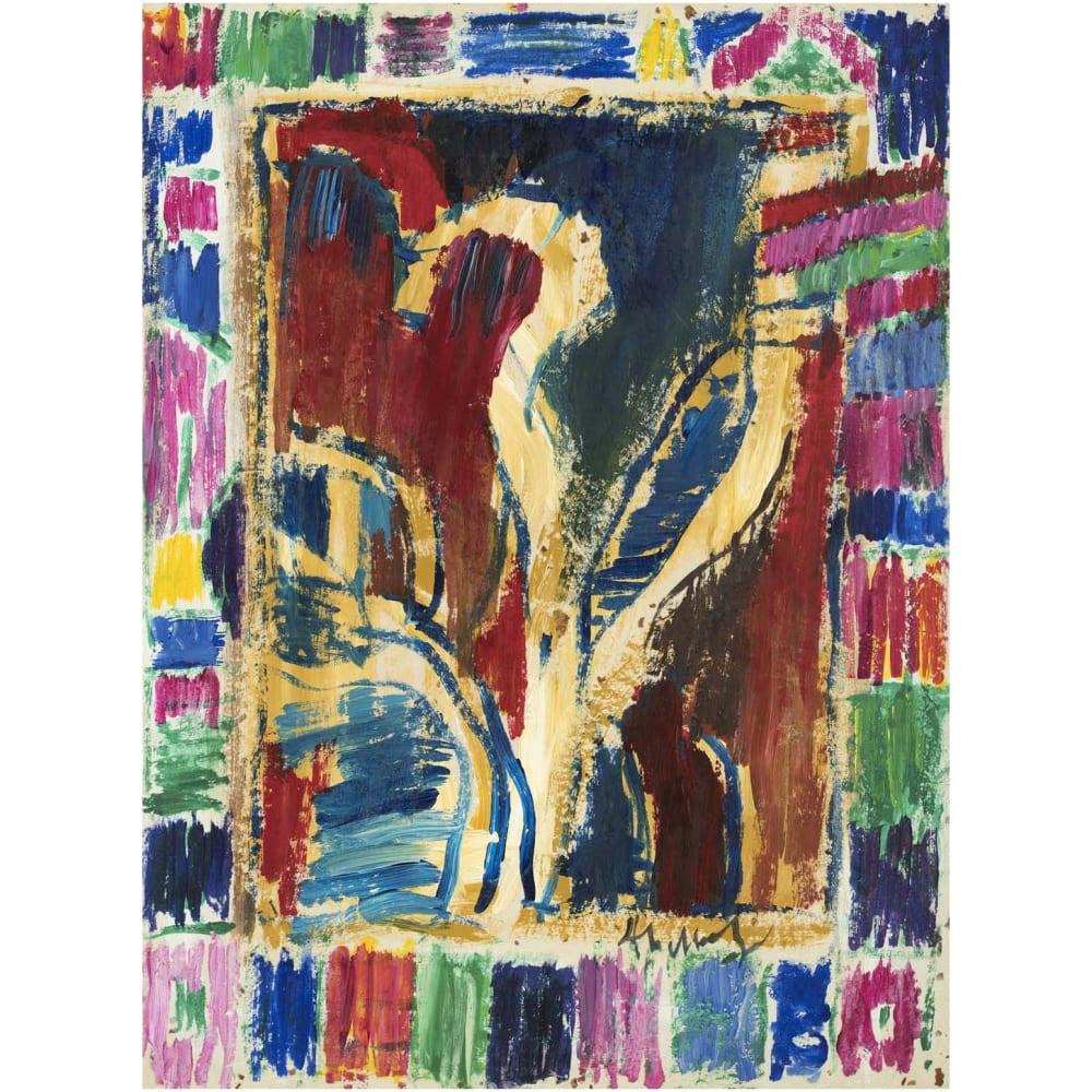 Pierre Alechinsky Droit repris, 2012 Acrylic on paper mounted on canvas Acrylique sur papier marouflé sur toile 24 3/4 x 18 1/2 in 63 x 47 cm