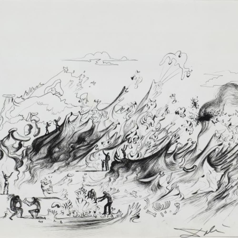 sALVADOR DALÍ WHAT THE COUNTRYSIDE WILL LOOK LIKE IN 1987, 1937 Pen and ink on paper Stylo en encre sur papier 10 1/2 x 14 1/2 in 26.7 x 36.8 cm