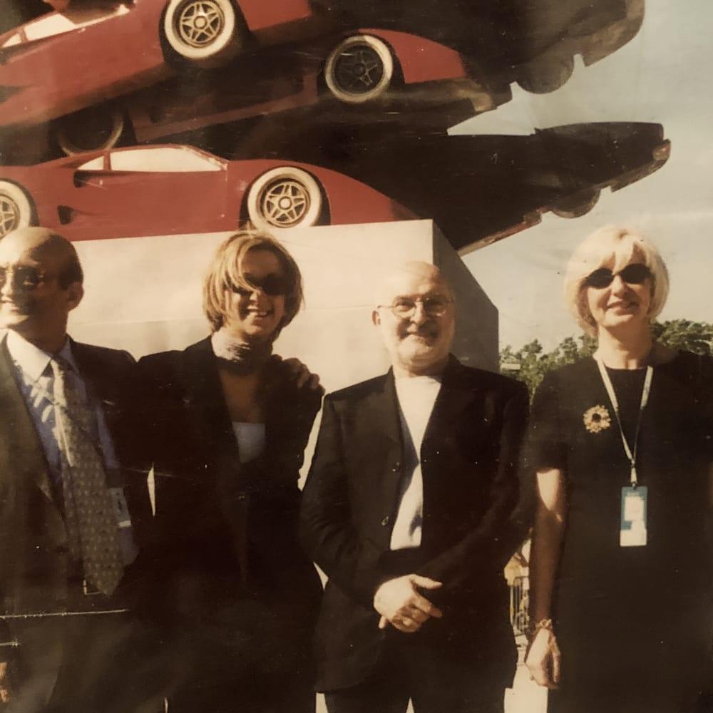 © Maggiore g.a.m. | Franco Calarota, Alessia Calarota, Arman, Roberta Calarota at the vernissage of Rampante by Arman, Imola, 1999.