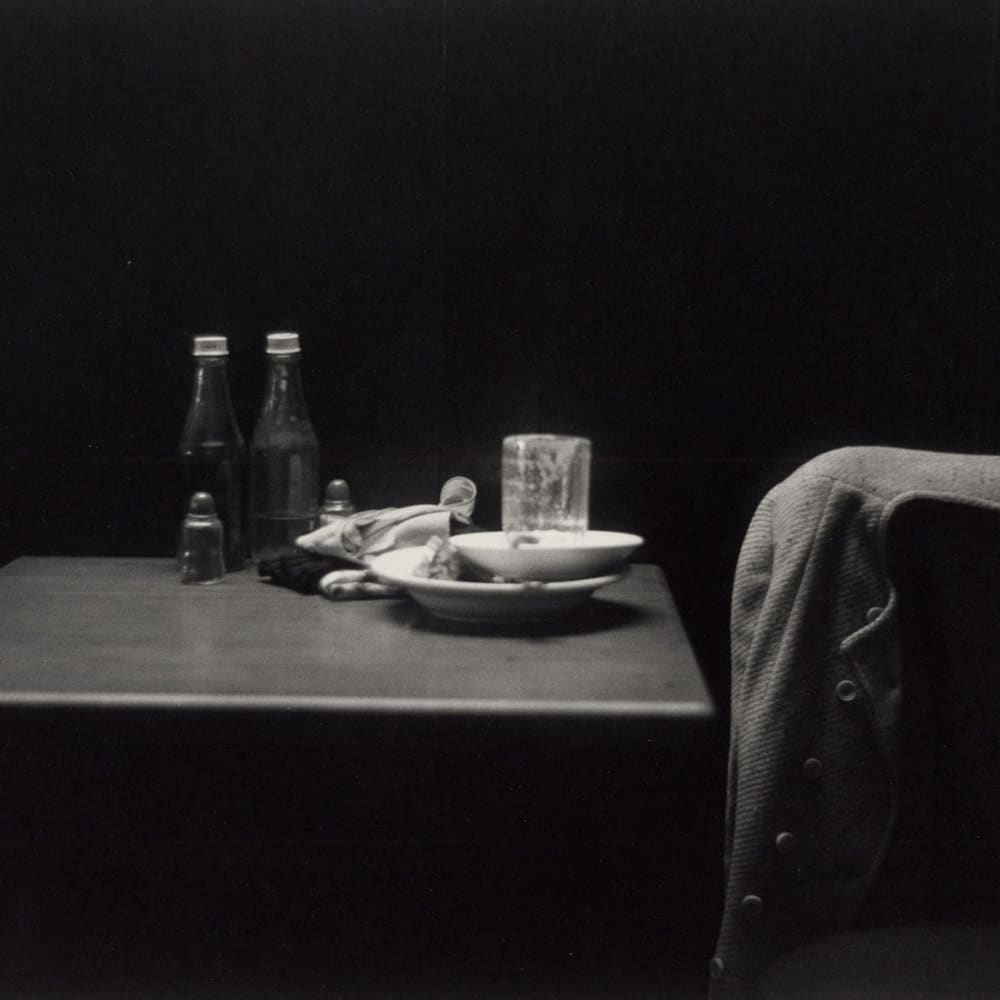 Roy DeCarava, Ketchup Bottle, Table, and Coat, 1952 © The Estate of Roy DeCarava. All Rights Reserved.