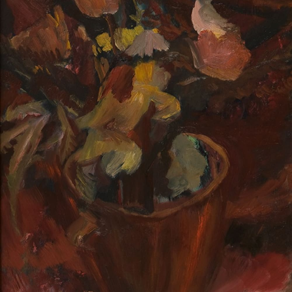 David Bomberg (1890-1957), Flowers in a Terracotta Pot, 1945, oil on canvas laid on panel. Jerwood Collection © The Estate of David Bomberg. All Rights Reserved, DACS 2020